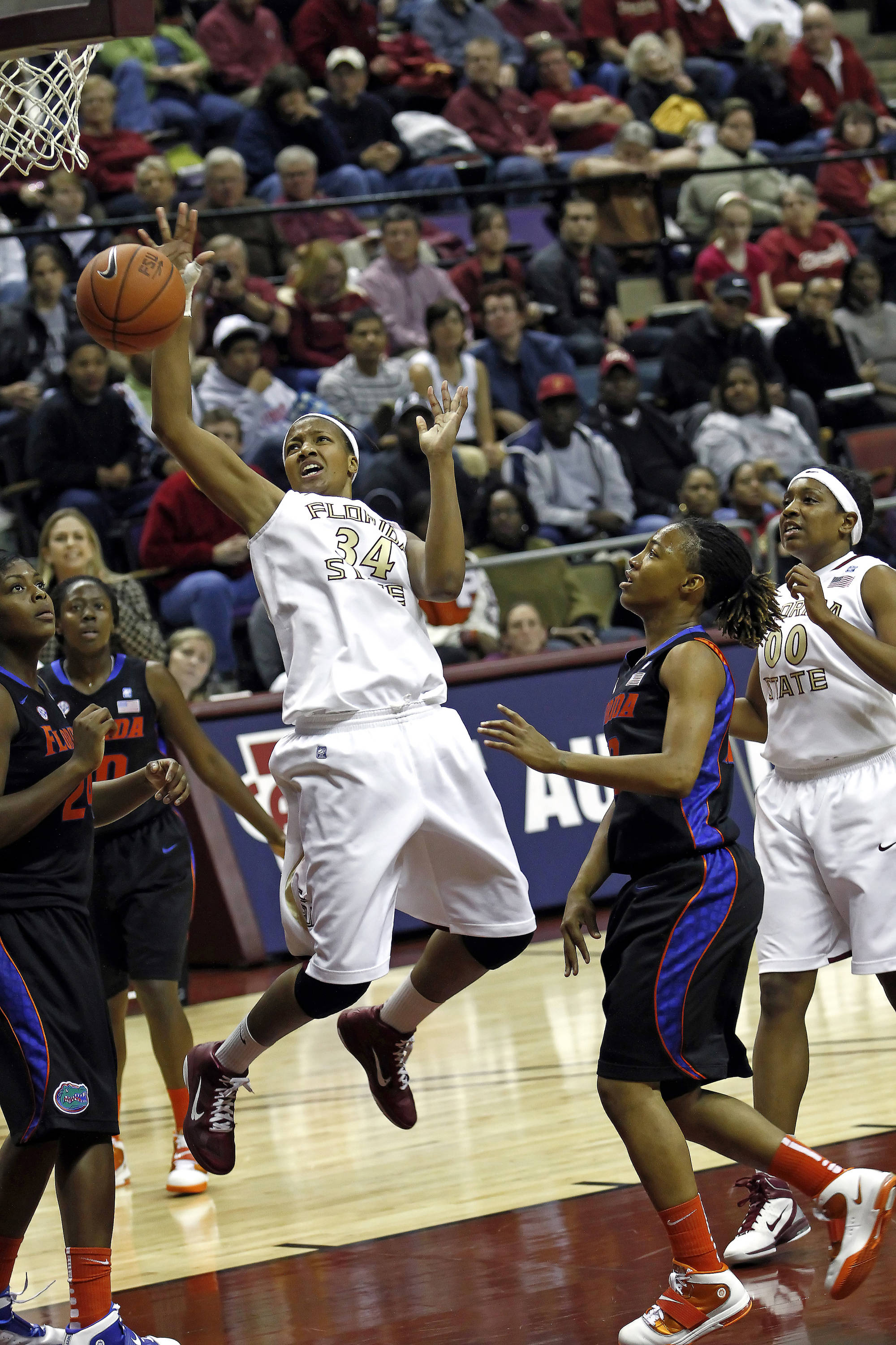 FSU vs Florida 12/28/10 - Chelsea Davis (34), Chasity Clayton (00)#$%^Photo by Steve Musco