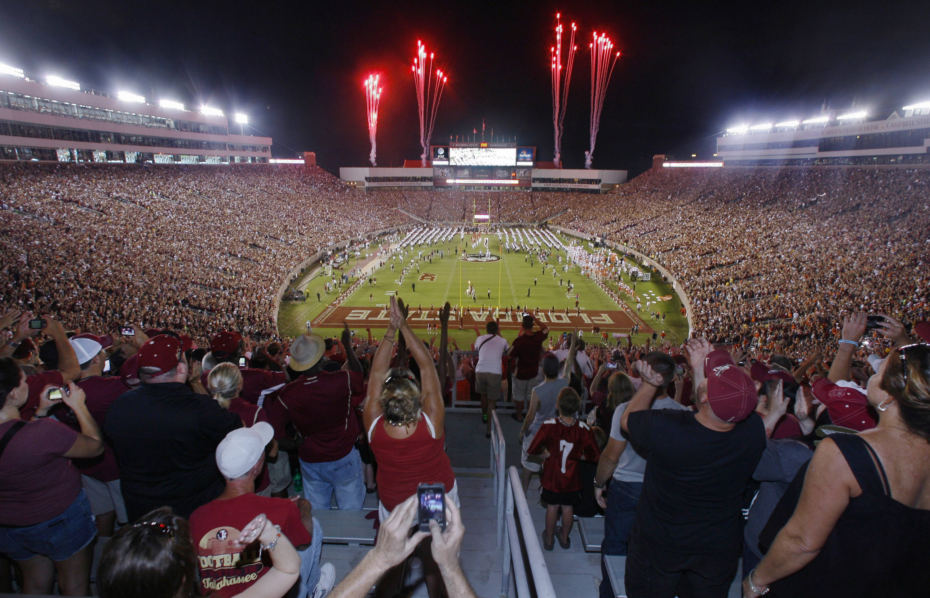 Fireworks go off as Florida State enters Doak Campbell Stadium. (AP Photo/Phil Sears)