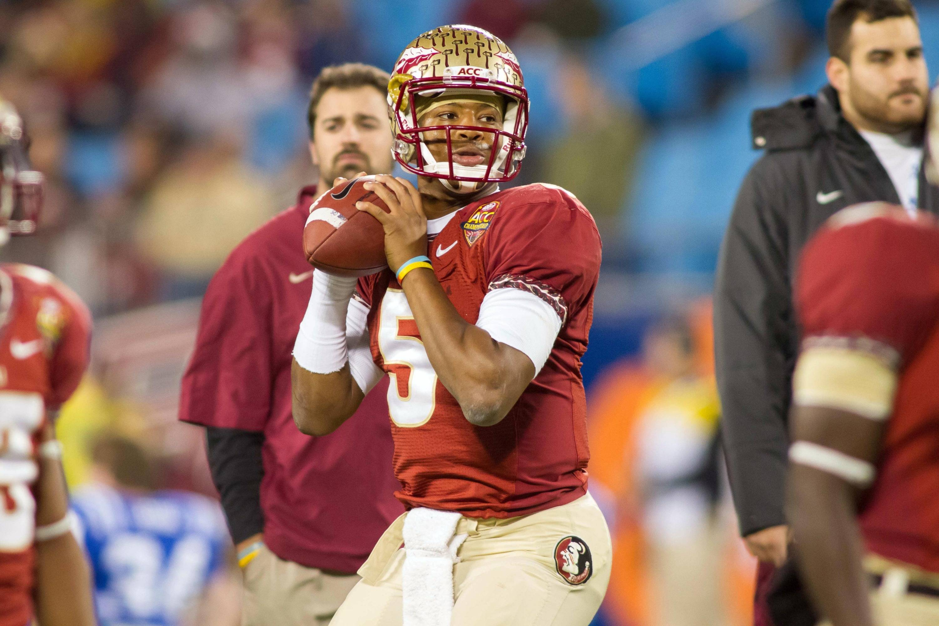 Dec 7, 2013; Charlotte, NC, USA; Florida State Seminoles quarterback Jameis Winston (5) throws a pass before the start of the game against the Duke Blue Devils at Bank of America Stadium. Mandatory Credit: Jeremy Brevard-USA TODAY Sports