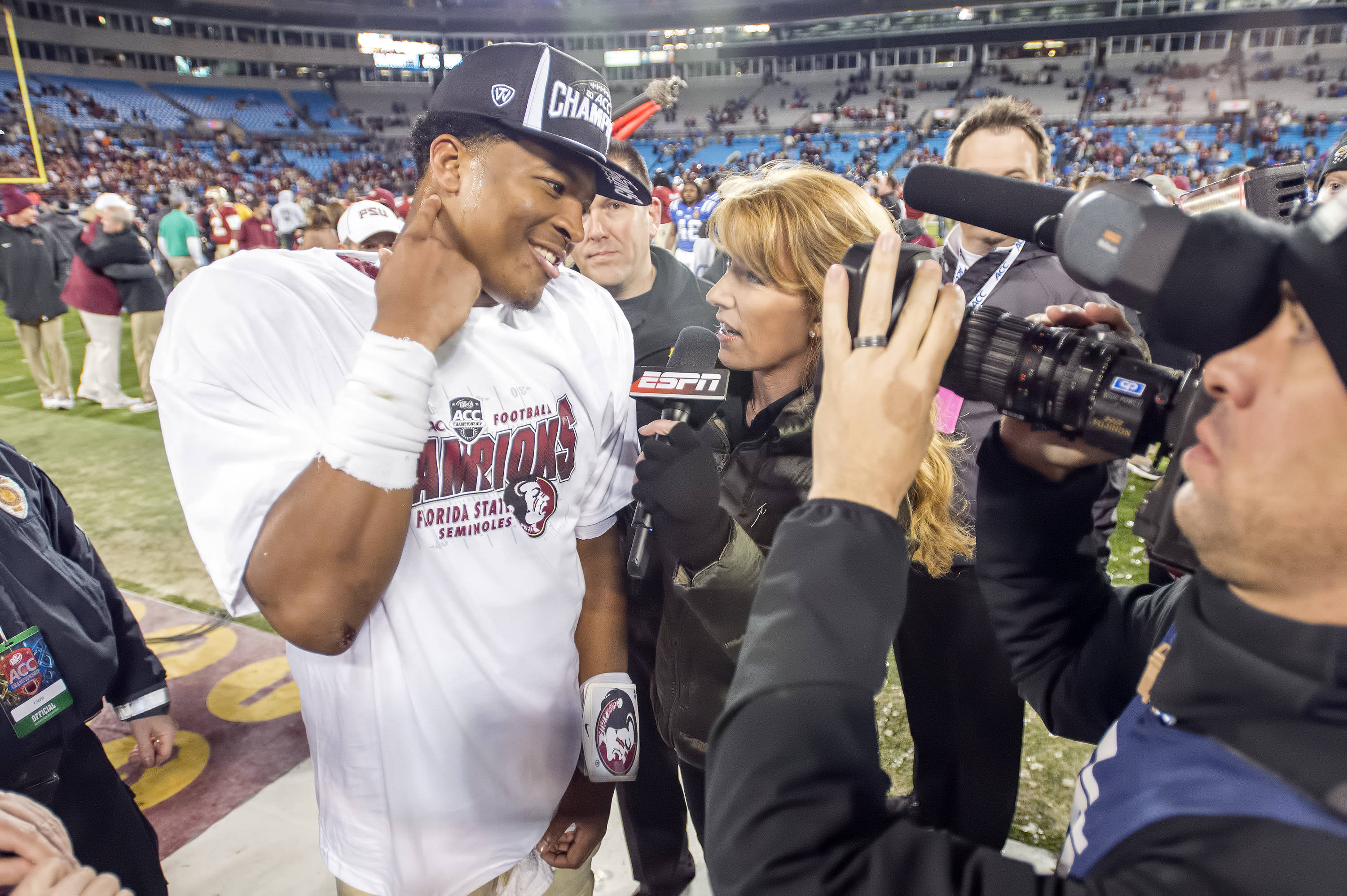 Jameis Winston is interviewed by ESPN at the end of the game