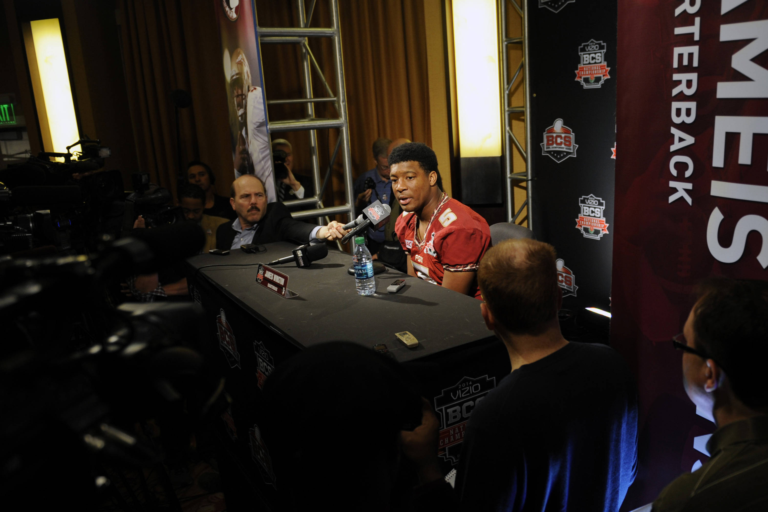 Jan 4, 2014; Newport Beach, CA, USA; Seminoles quarterback Jameis Winston (5) during the BCS National Championship Media Day at Newport Beach Marriott. Kelvin Kuo-USA TODAY Sports