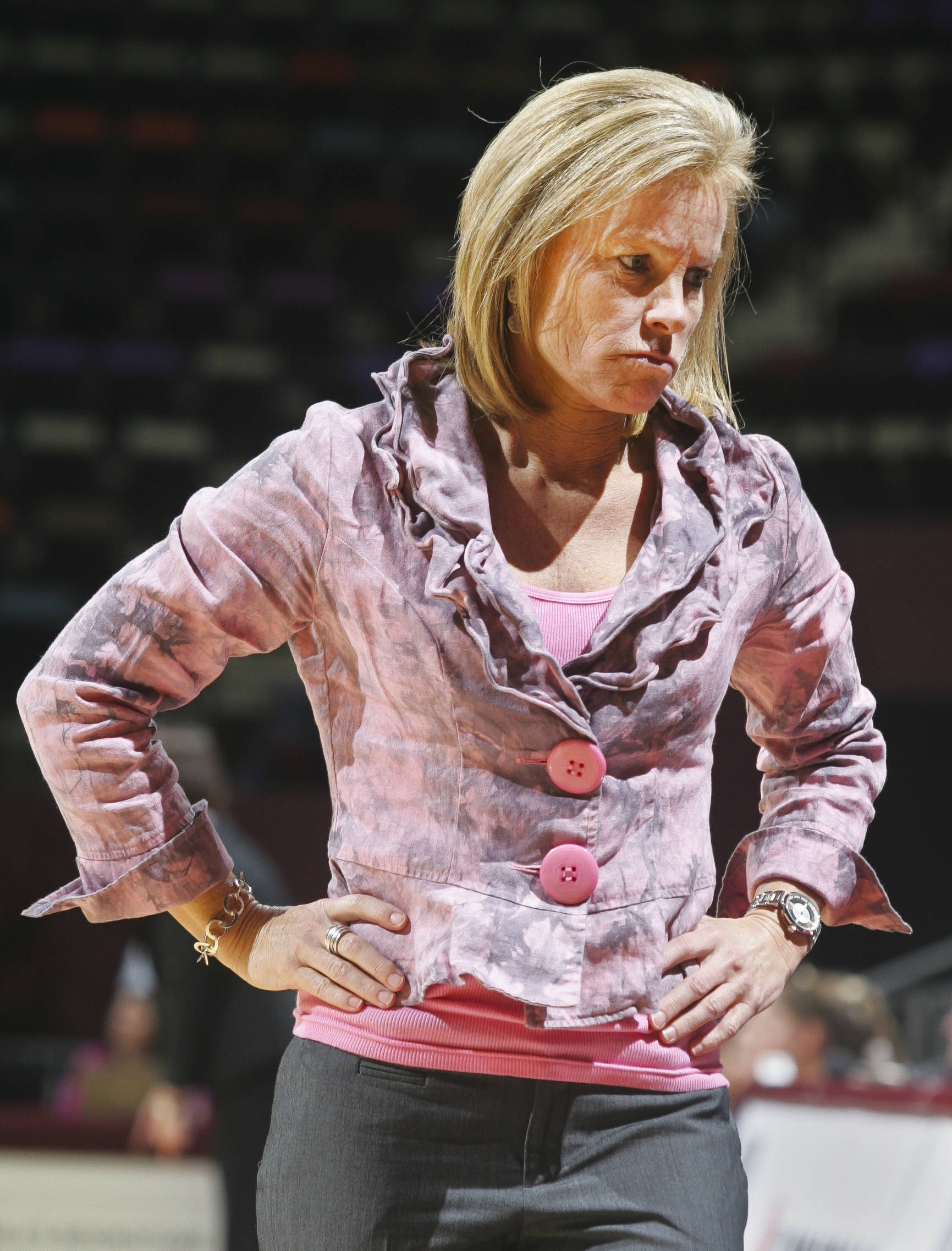 Florida State coach Sue Semrau reacts in the second half. (AP Photo/Phil Sears)