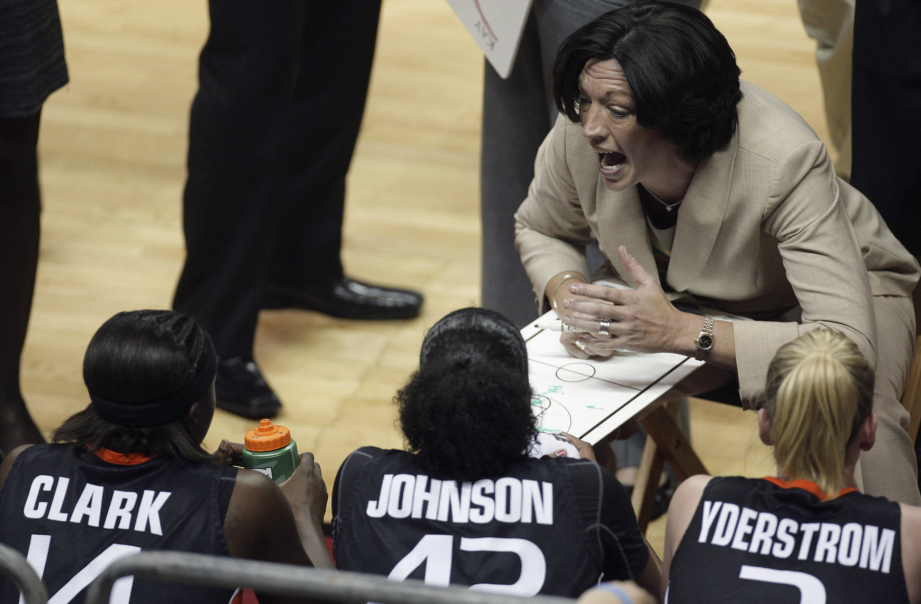 Miami coach Katie Meier, top right, talks to her team during a first-half timeout during an NCAA college basketball game against Florida State, Thursday, Feb. 25, 2010, in Tallahassee, Fla. (AP Photo/Phil Coale)