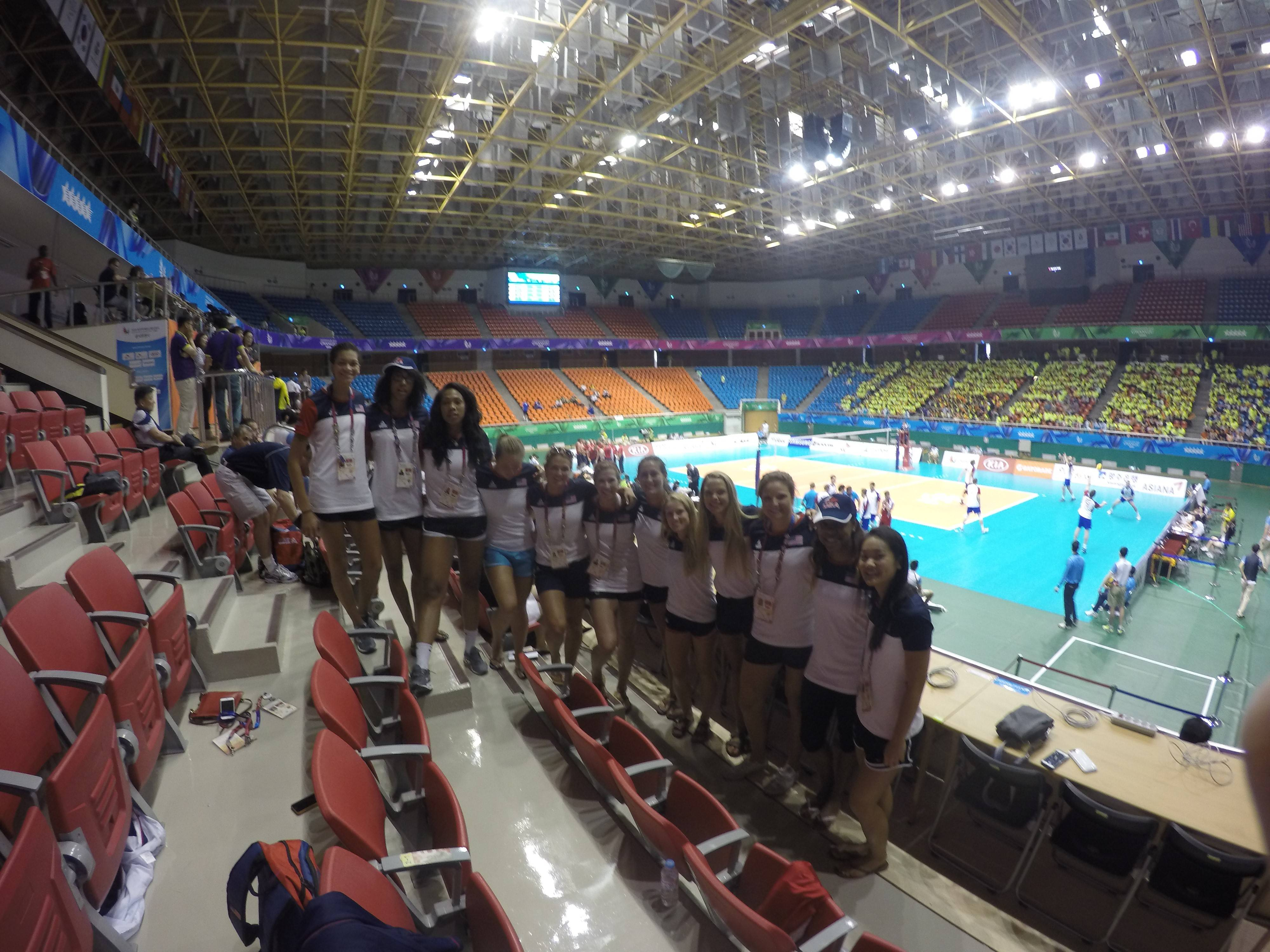 Team USA after cheering on the men's team.