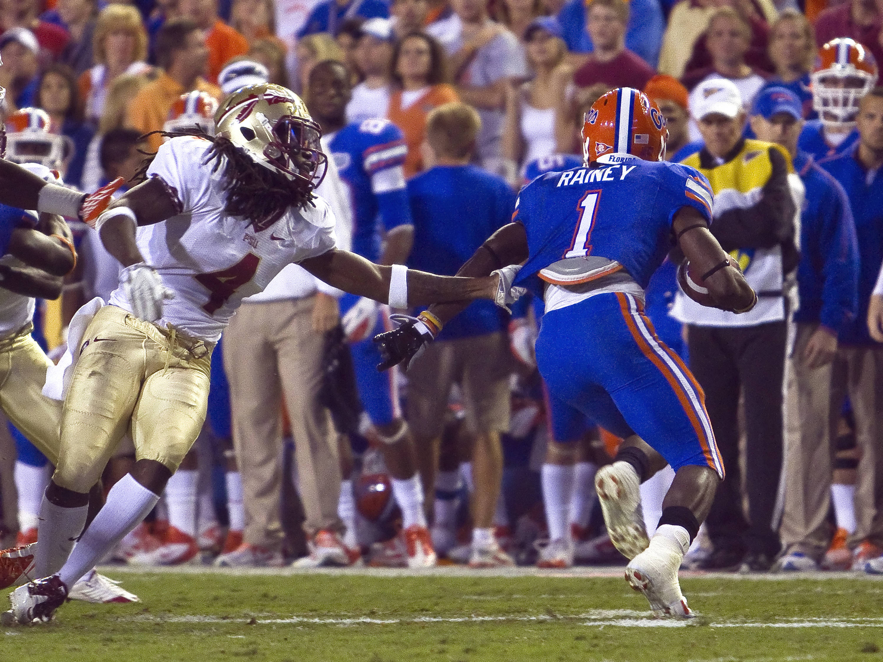 Terrance Parks (4) with a tackle, FSU vs Florida, 11/26/2011
