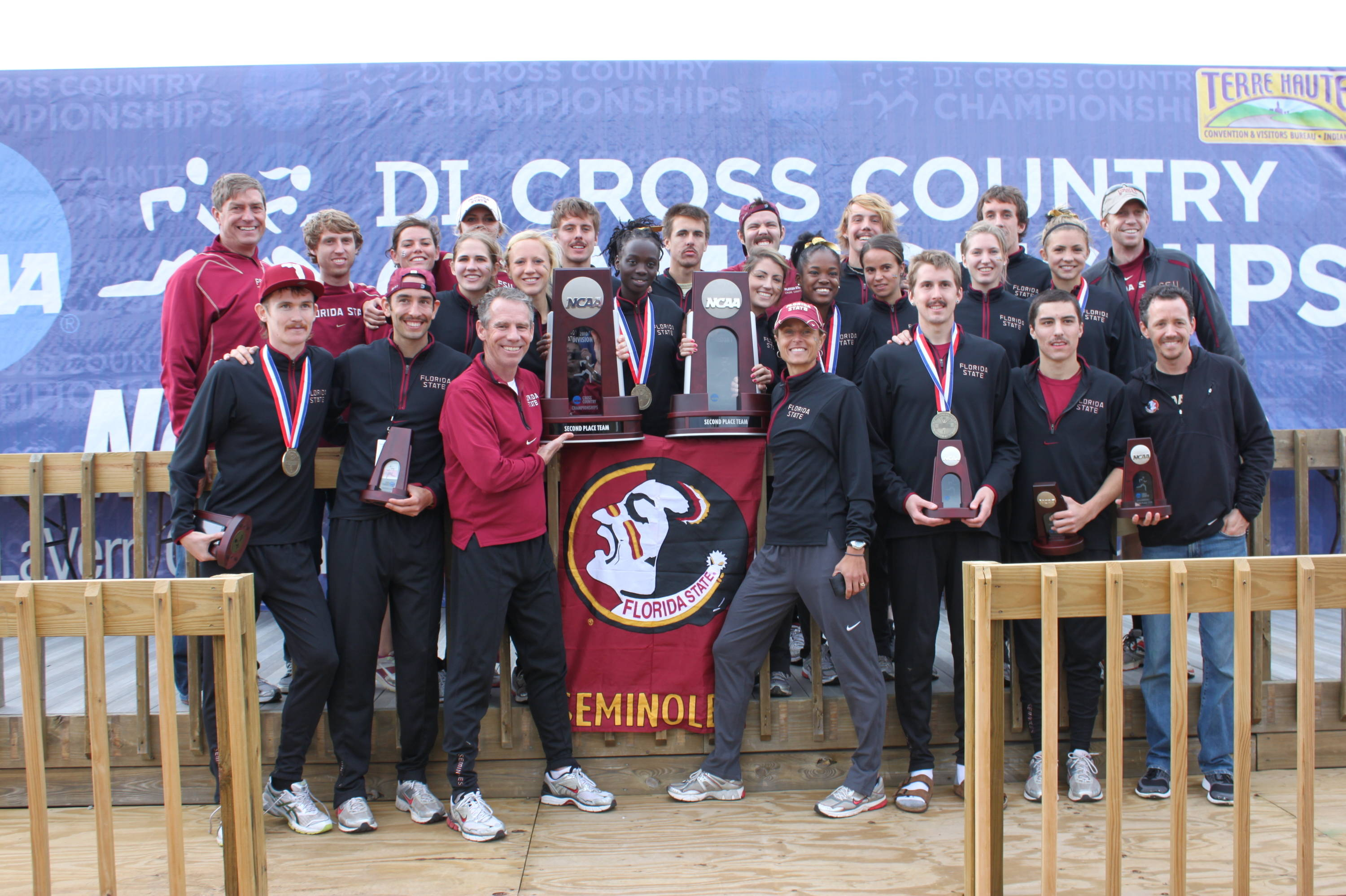 The FSU men and women pose on the podium after their national runner-up finishes.