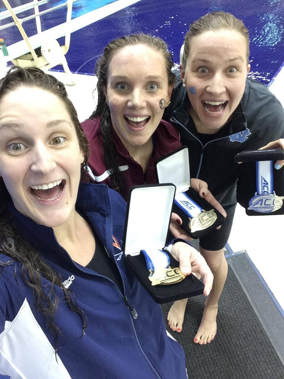 The 200 free medalists take a selfie