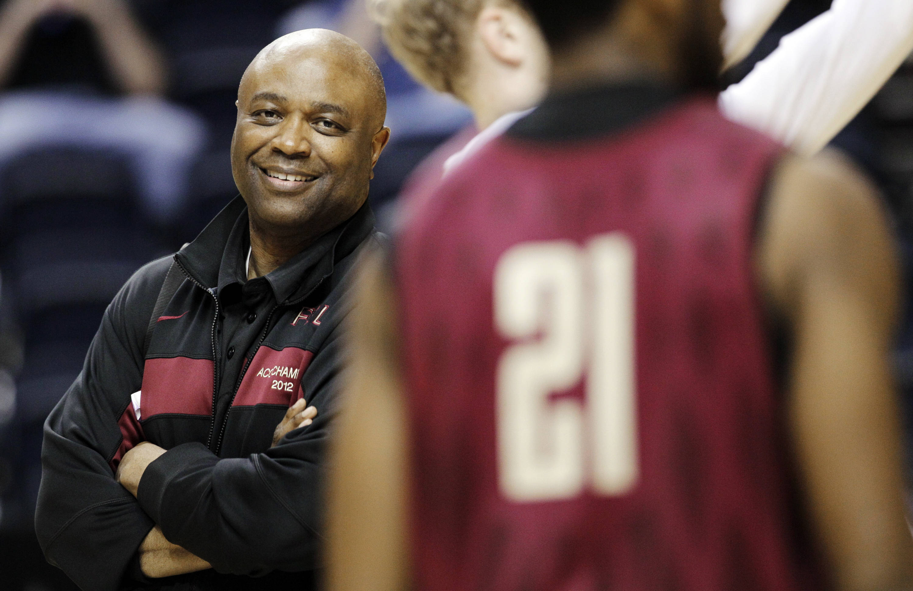 Florida State head coach Leonard Hamilton, left, watches his players during practice for an NCAA college basketball tournament game on Thursday, March 15, 2012, in Nashville, Tenn. Florida State is scheduled to play St. Bonaventure on Friday. (AP Photo/Mark Humphrey)