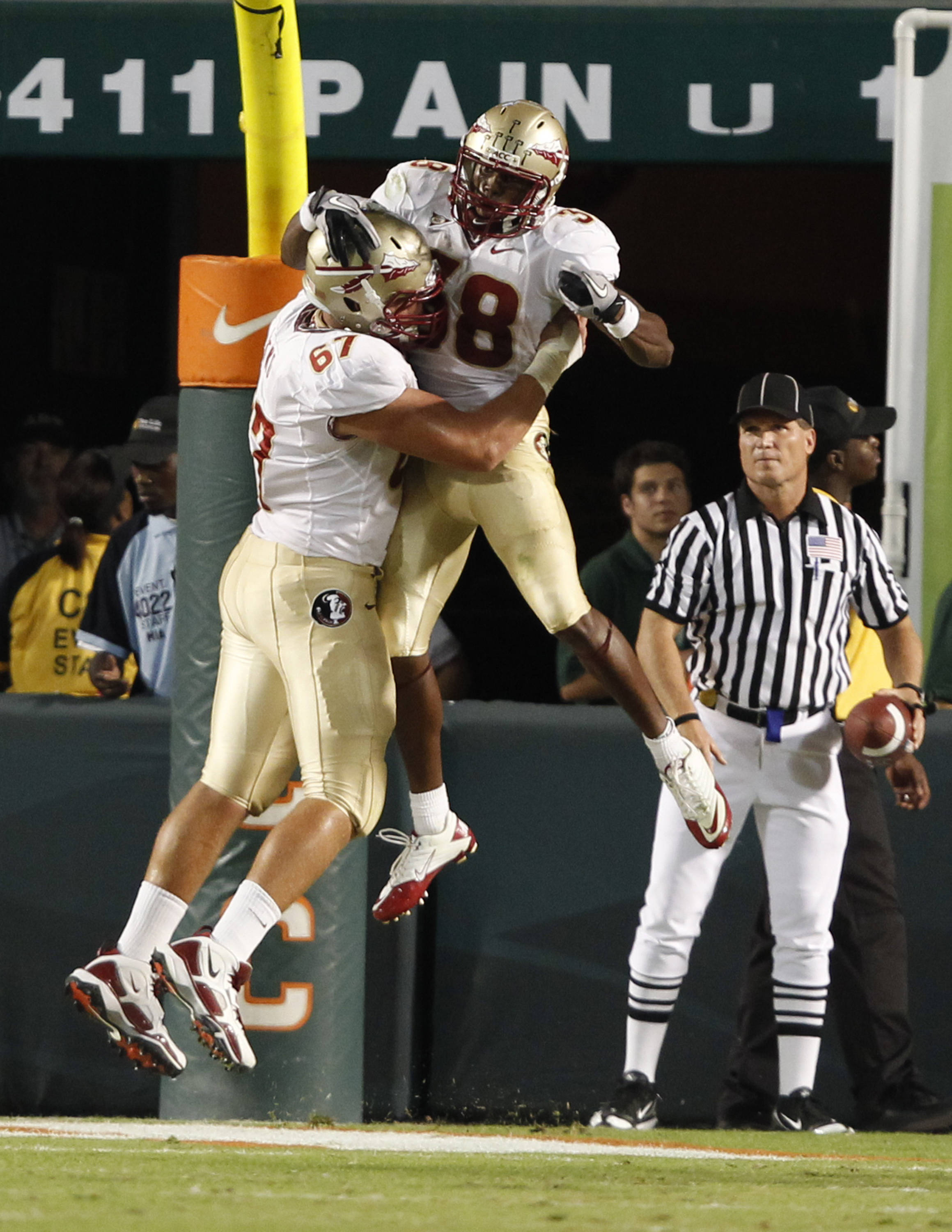 Florida State running back Jermaine Thomas celebrates with offensive tackle Andrew Datko after scoring a touchdown in the second quarter.