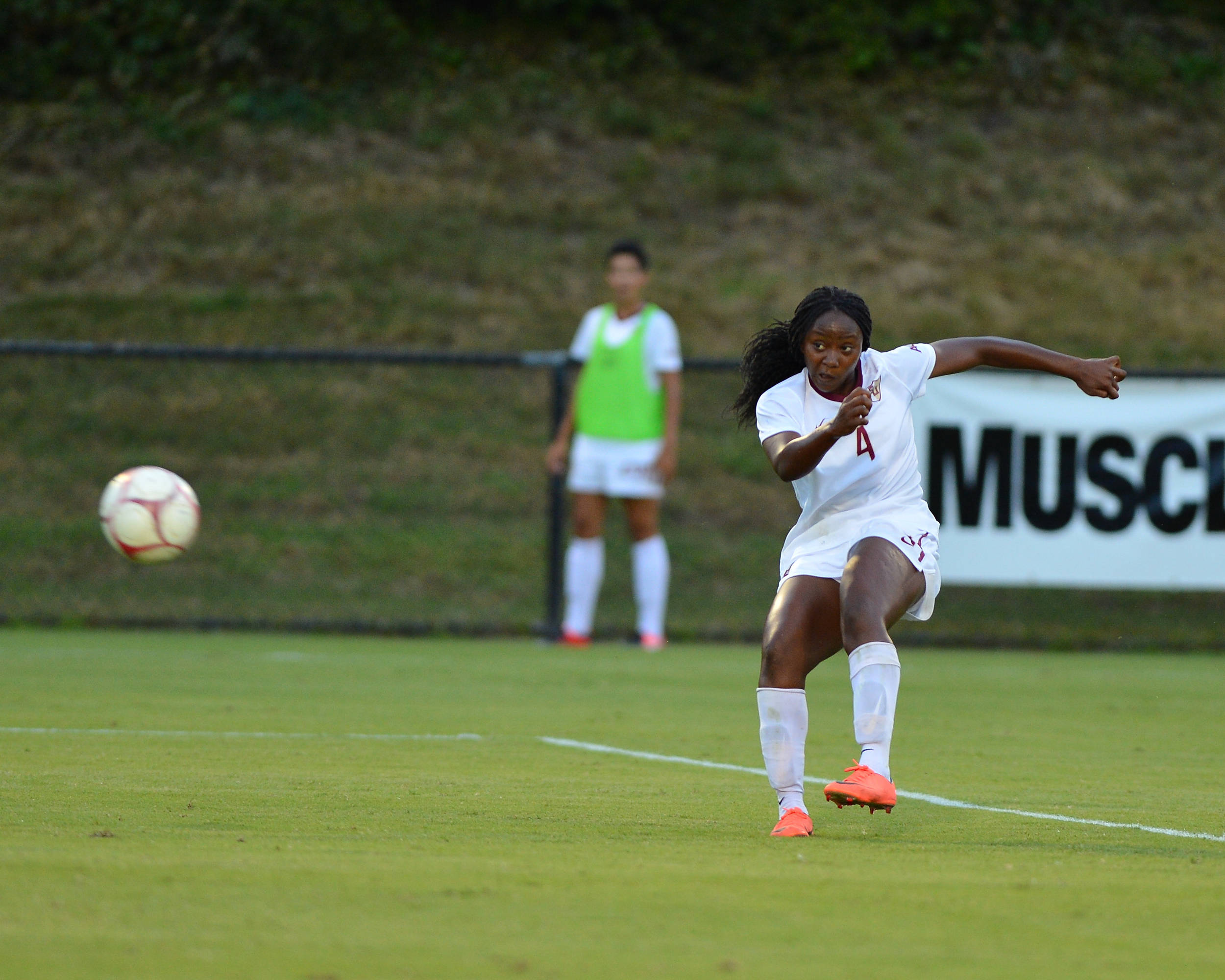 Jamia Fields blasts the game-winning goal from the top of the box.