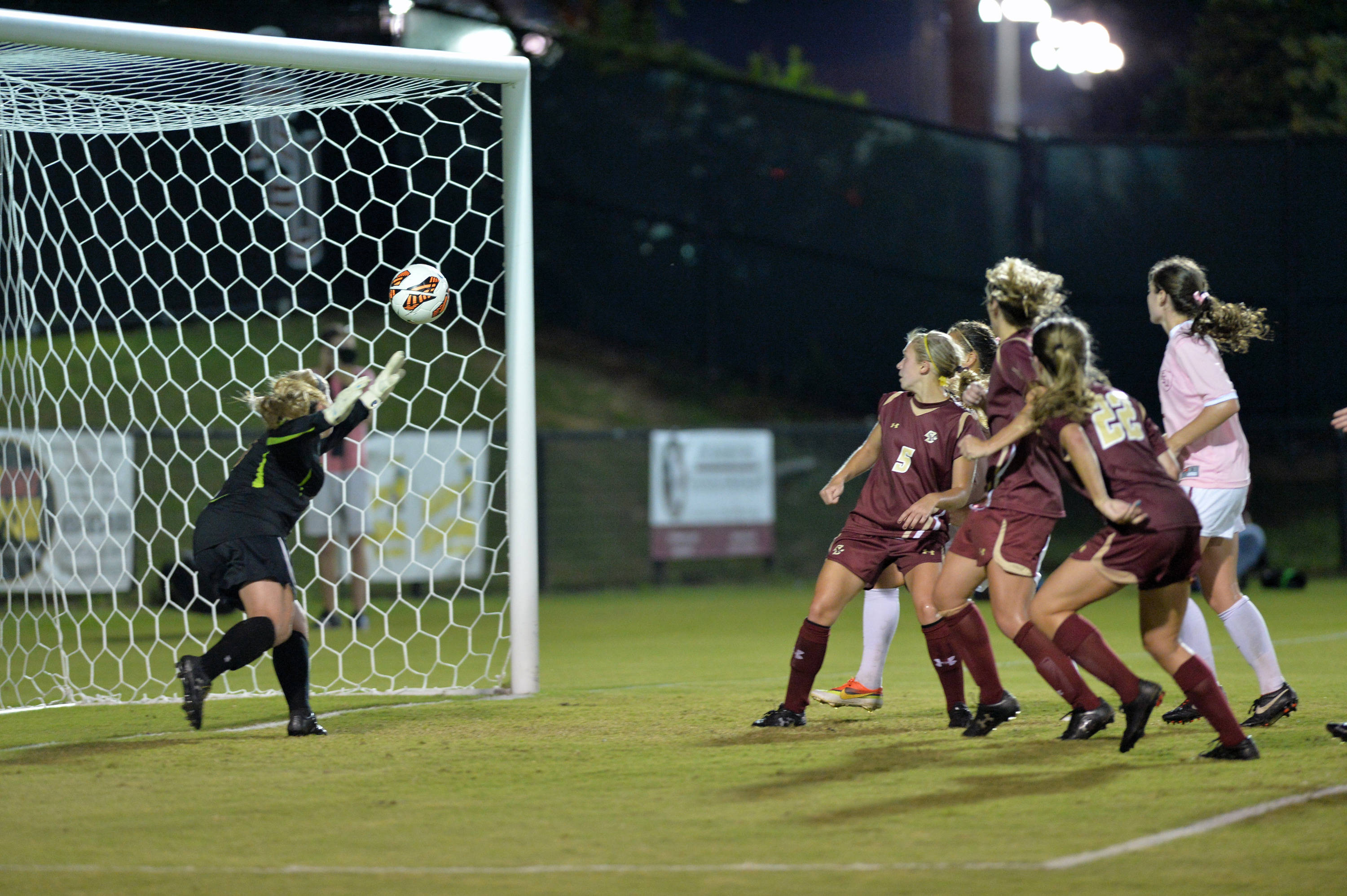 The second goal of the night came off a Megan Campbell throw-in that went off a BC player.