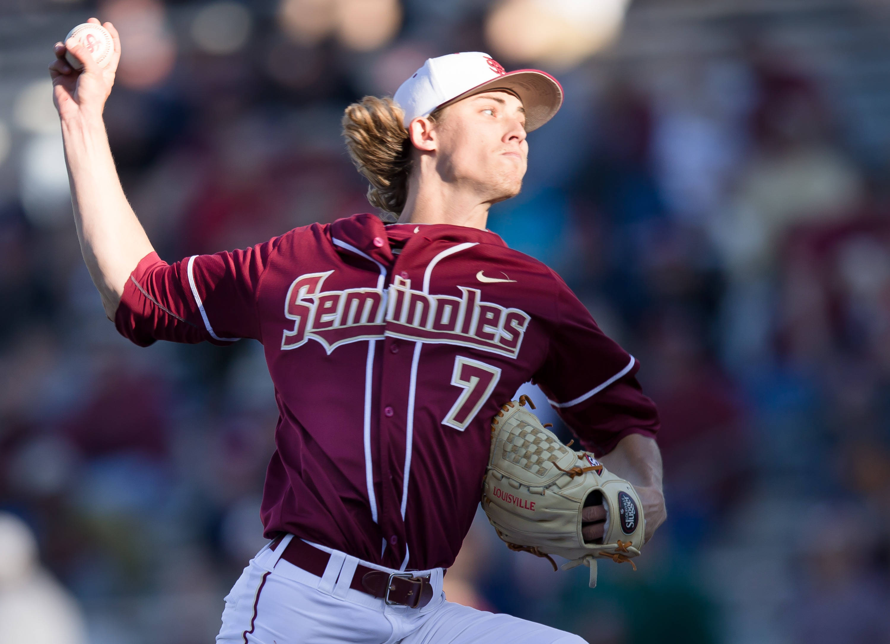 Luke Weaver (7) pitched 6.1 innings, allowed 1 earned run and picked up the Seminole win.
