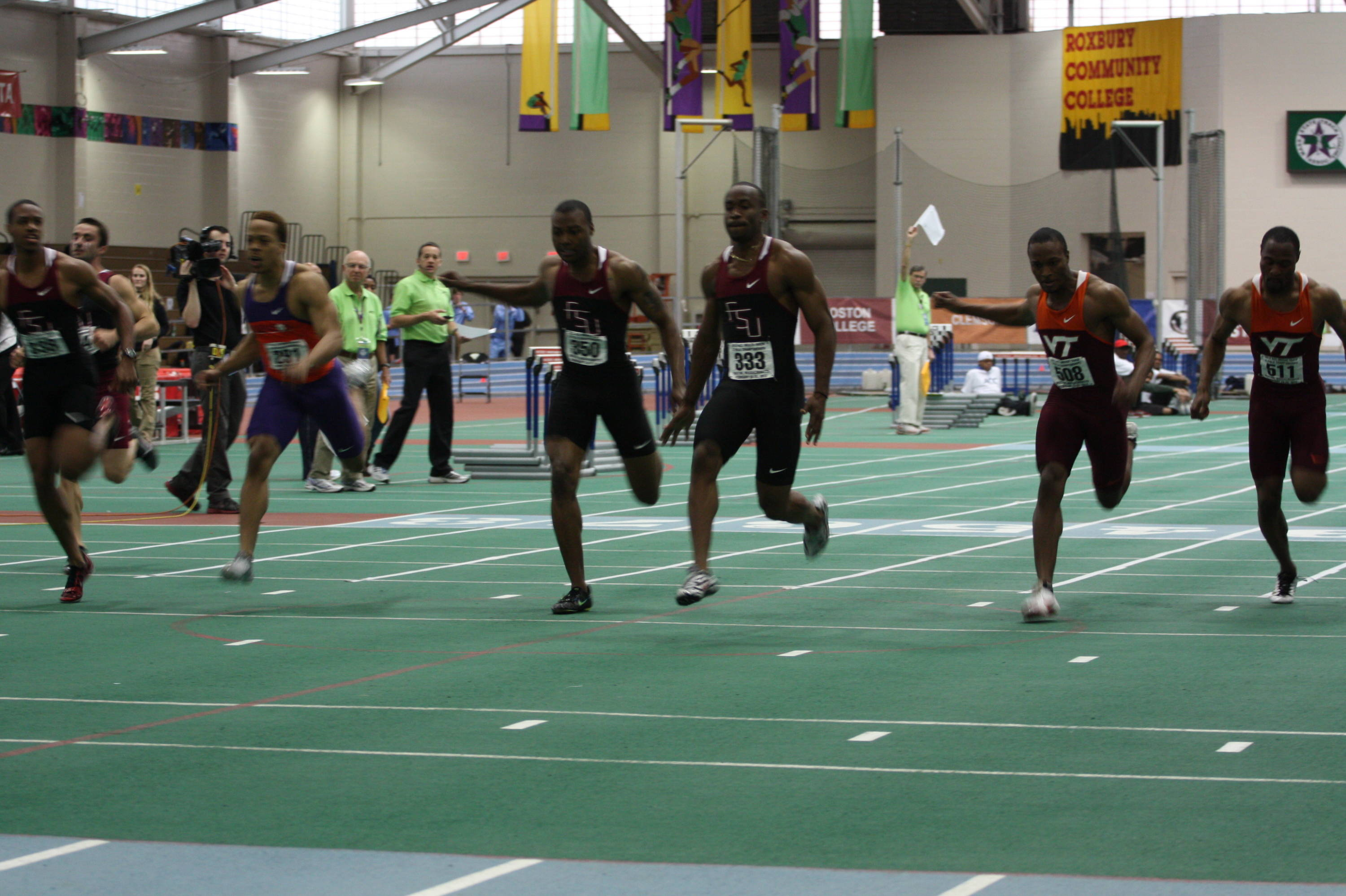 Kemar Hyman (333) won the 60m title, while Horatio Williams (350) was fourth and Maurice Mitchell (far left) finished second.