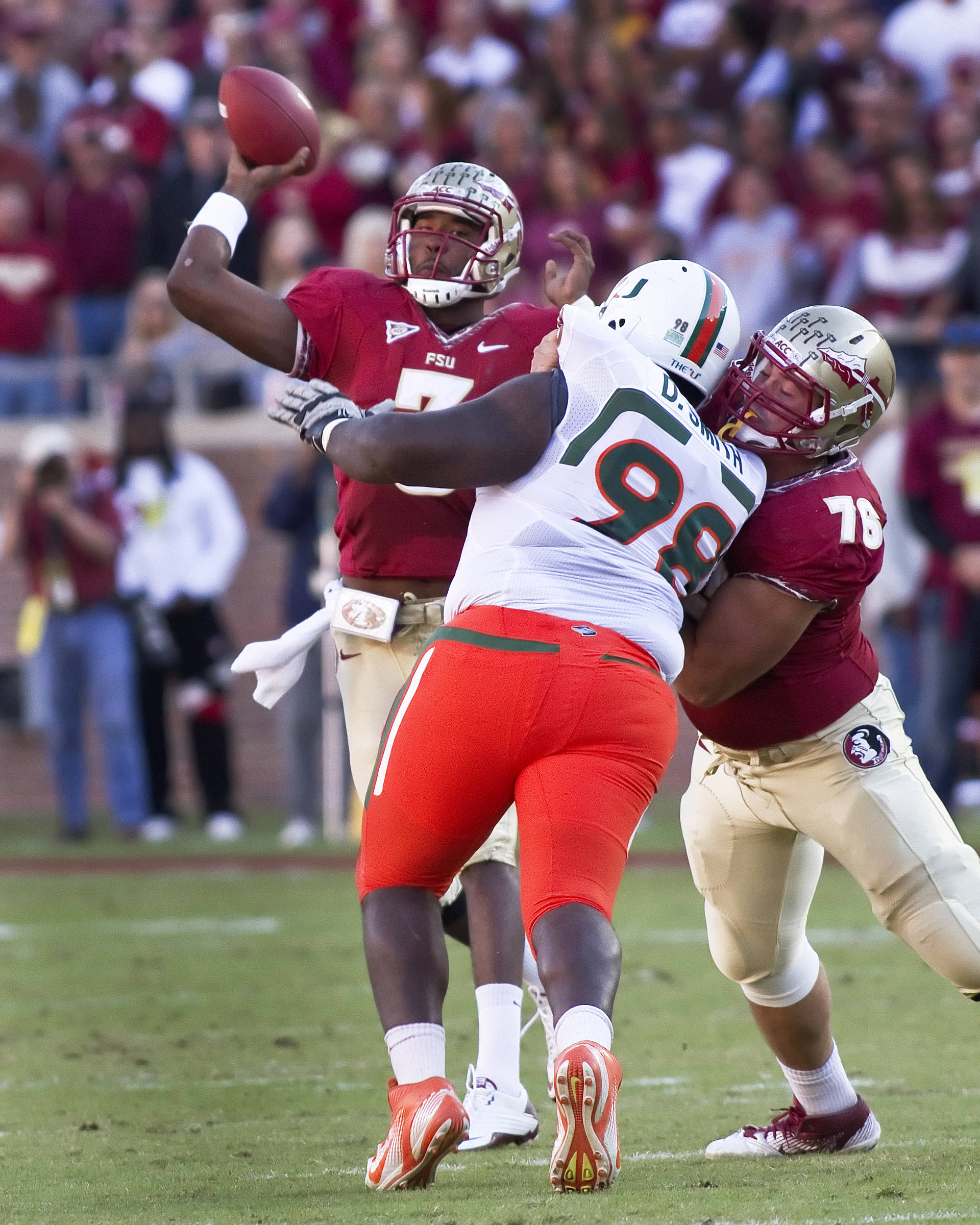 EJ Manuel (3), David Spurlock (79), FSU vs Miami, 11/12/2011