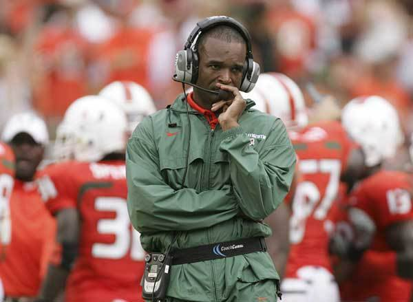 iami coach Randy Shannon walks the sidelines after Florida State scored their third touchdown in the first half.