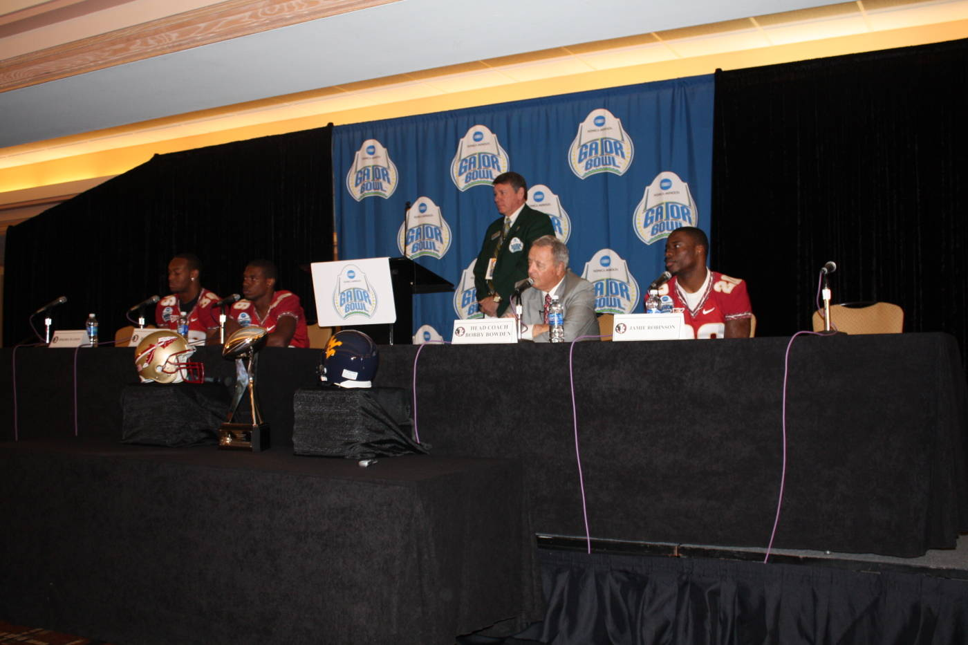 FSU head coach Bobby Bowden, Jamie Robinson, Rod Owens, and Dekoda Watson at the Gator Bowl coaches and players press conference at the Hyatt in Jacksonville.