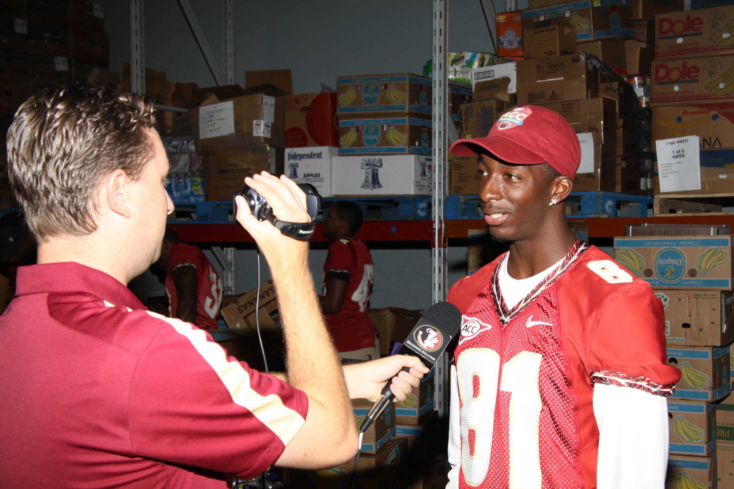 Kenny Shaw getting interviewed at Second Harvest