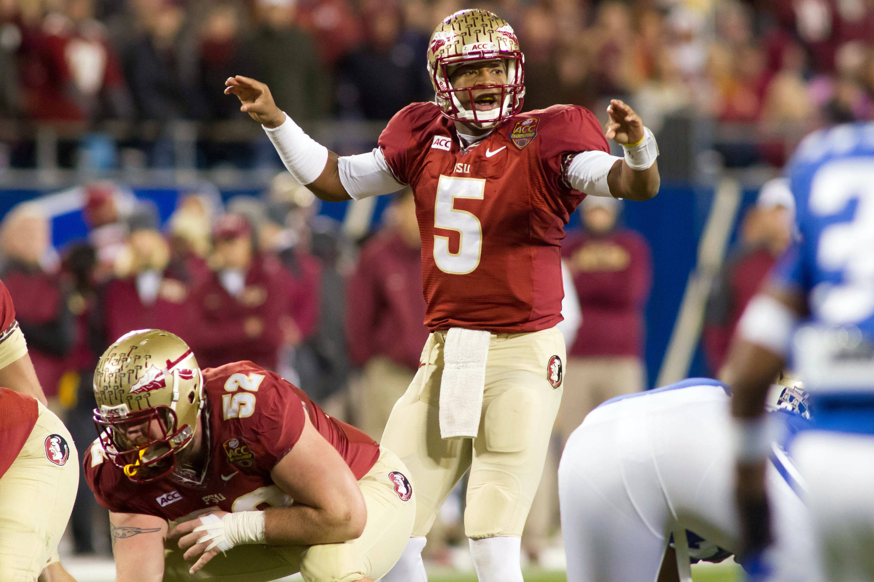 Dec 7, 2013; Charlotte, NC, USA; Florida State Seminoles quarterback Jameis Winston (5) calls out during the second quarter against the Duke Blue Devils at Bank of America Stadium. Mandatory Credit: Jeremy Brevard-USA TODAY Sports