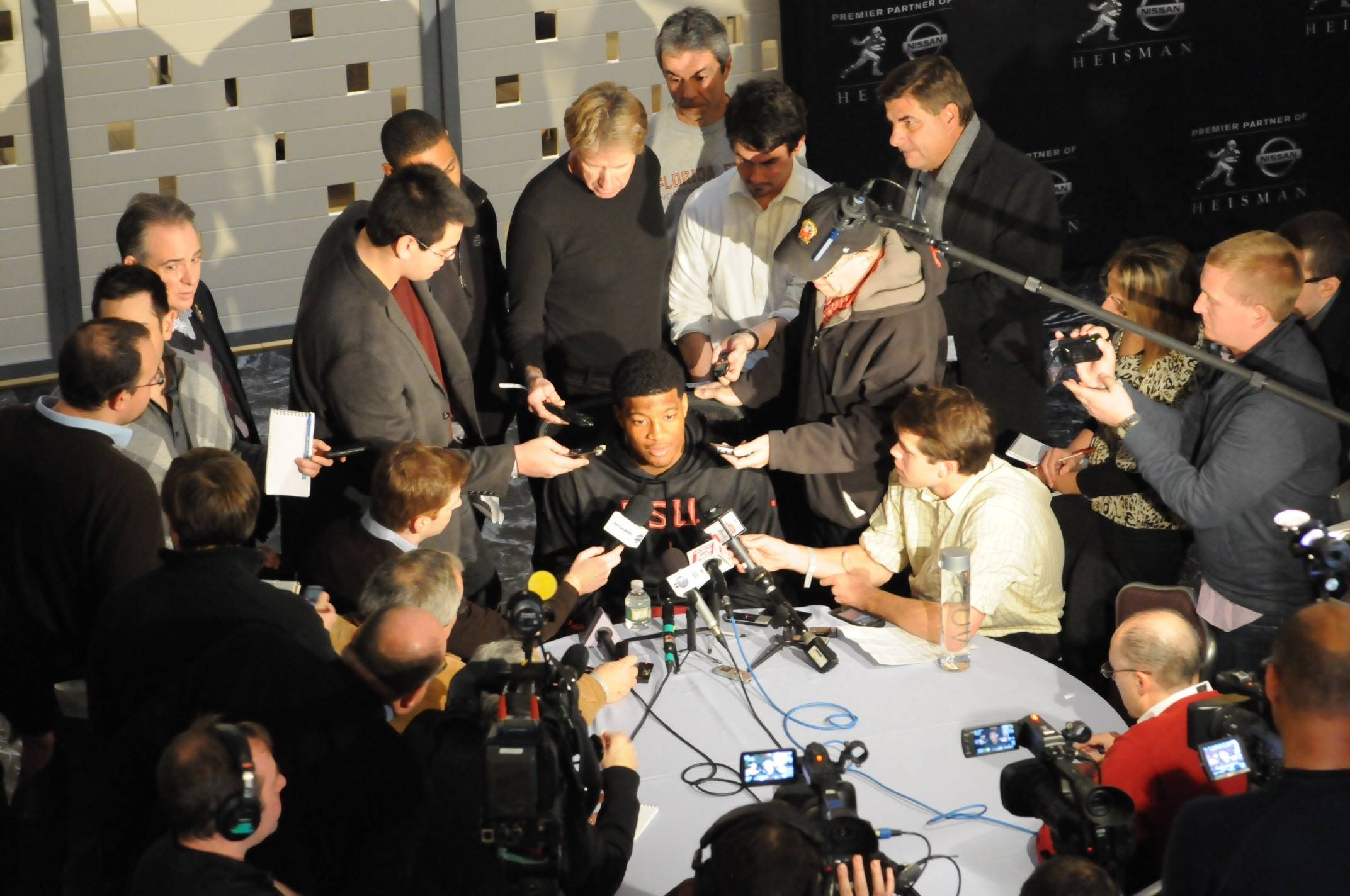 Jameis Winston speaks to the media