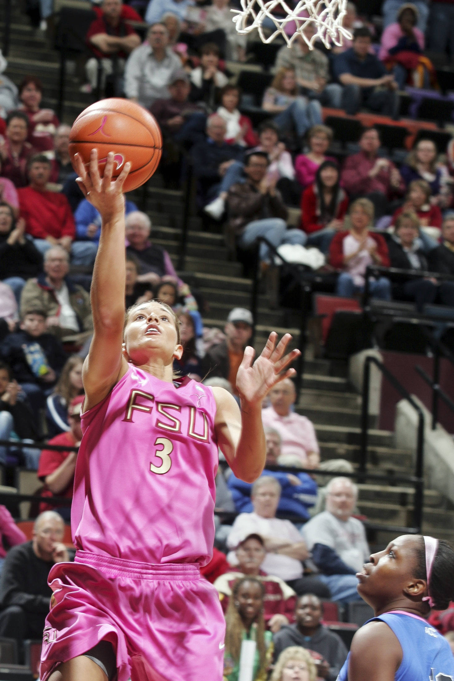 Florida State's Alexa Deluzio (3) shoots a layup after getting past Duke's Chelsea Gray (12). (AP Photo/Phil Sears)