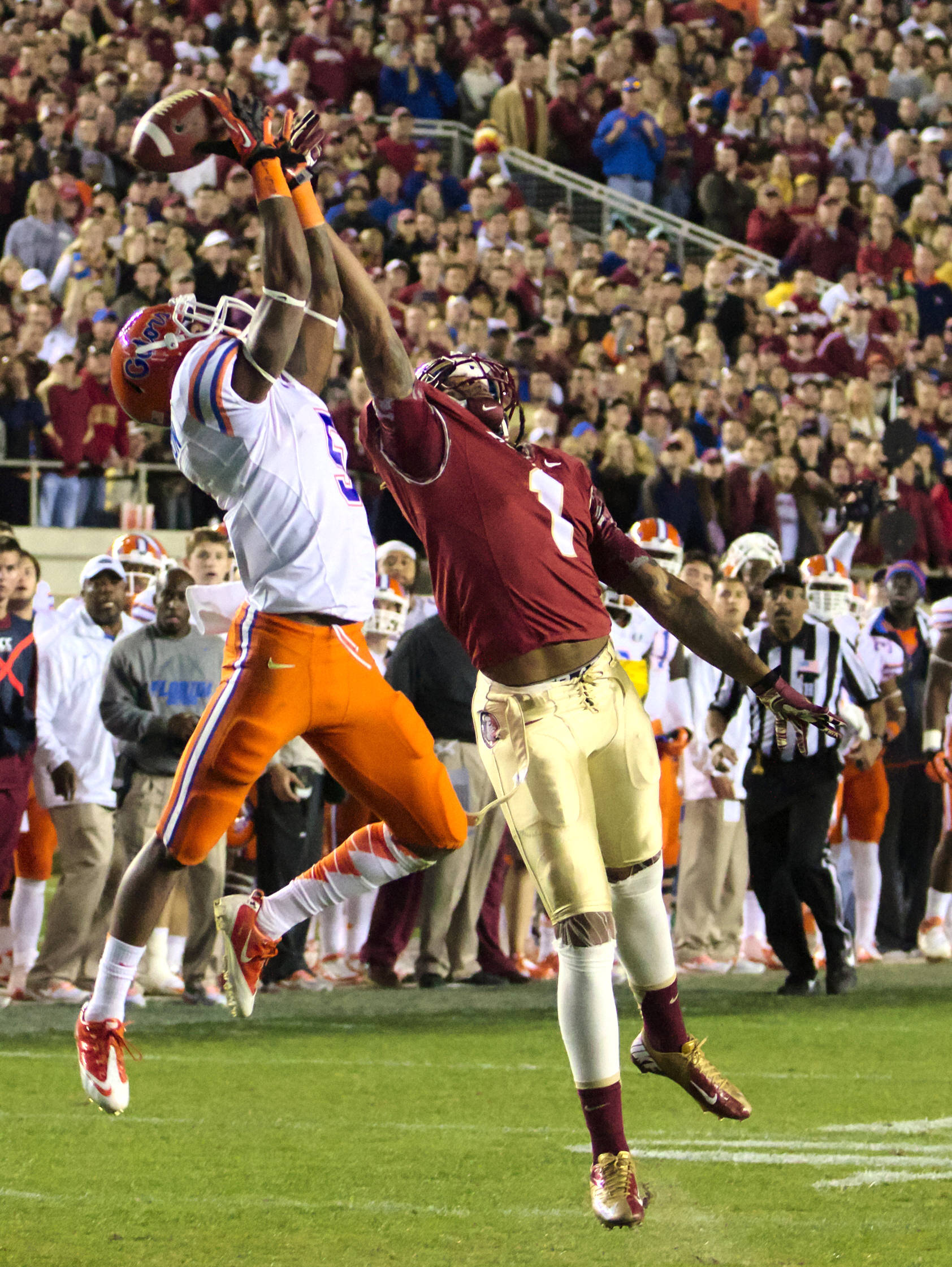 Kelvin Benjamin (1), FSU vs Florida, 11/24/12. (Photo by Steve Musco)