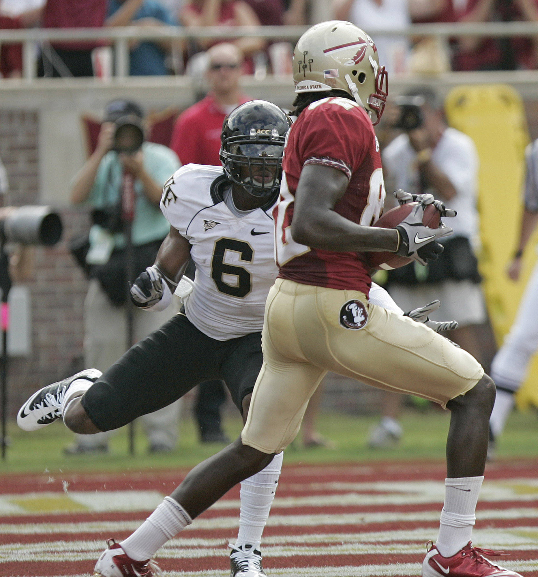 Florida State's Willie Haulstead, right, hauls in a touchdown pass in front of Wake Forest's Kenny Okoro in the second quarter of an NCAA college football game on Saturday, Sept. 25, 2010, in Tallahassee, Fla. (AP Photo/Steve Cannon)