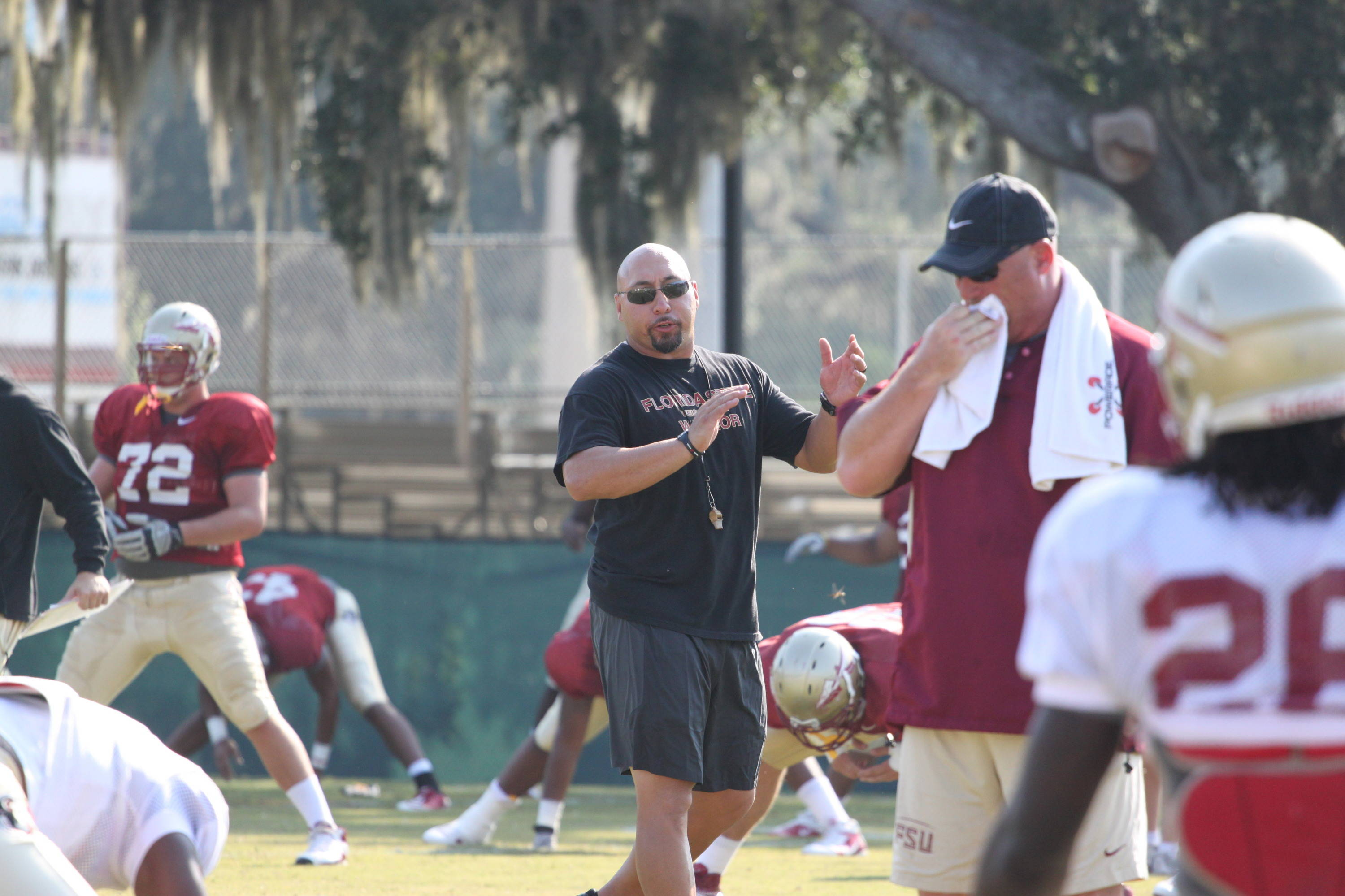 Strength coach Vic Viloria gets the Seminoles pumped and ready during flex.