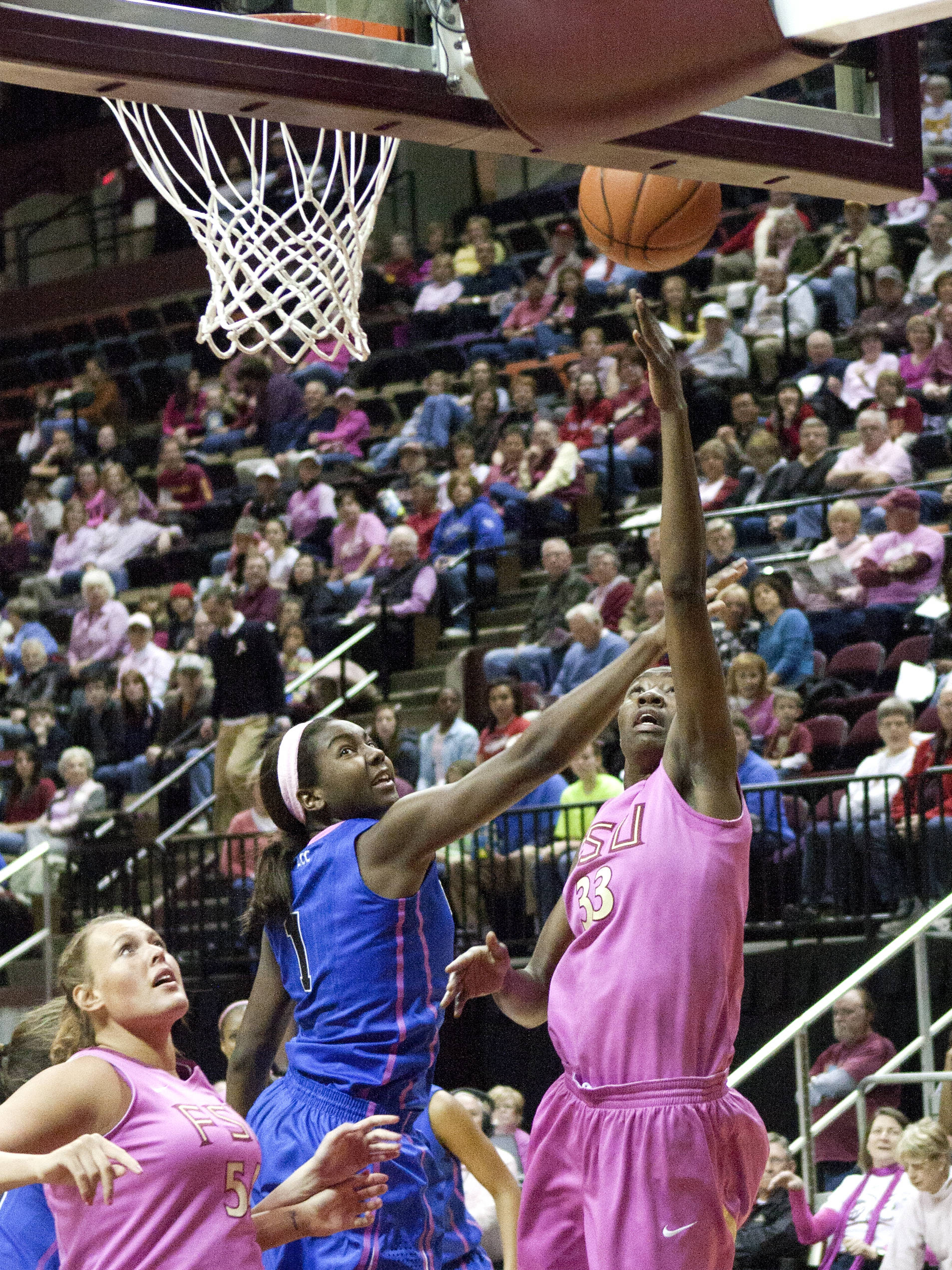 Natasha Howard (33), Cierra Bravard (54), FSU vs Duke  02/12/2012