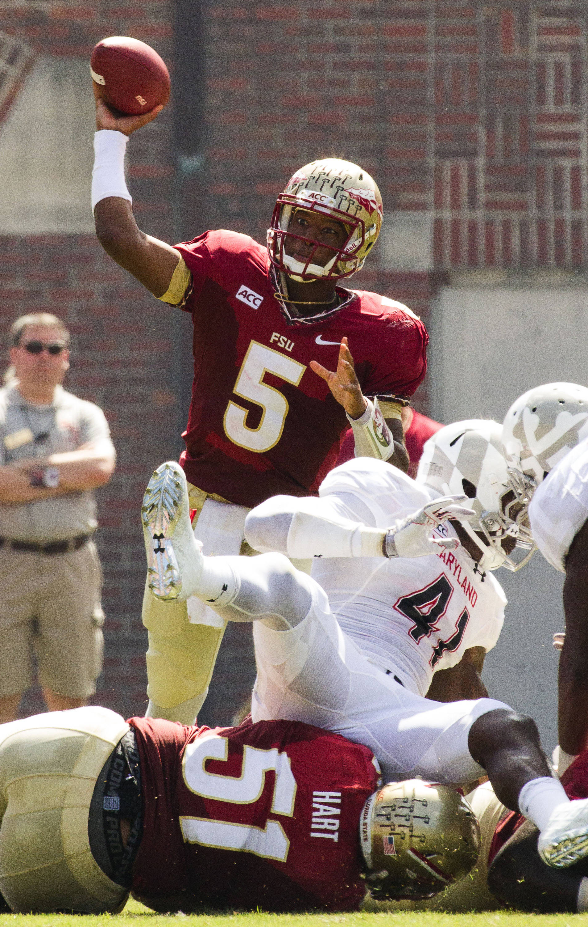 Jameis Winston (5) makes a pass during FSU Football's 63-0 shutout of Maryland on Saturday, October 5, 2013 in Tallahassee, Fla.