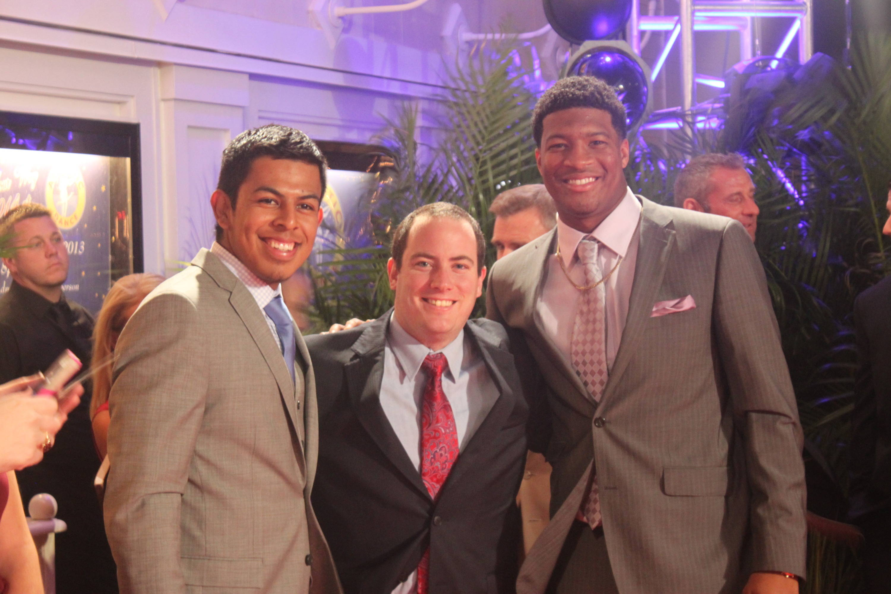 Roberto Aguayo, FSU SID Zach Stipe, and  Jameis Winston