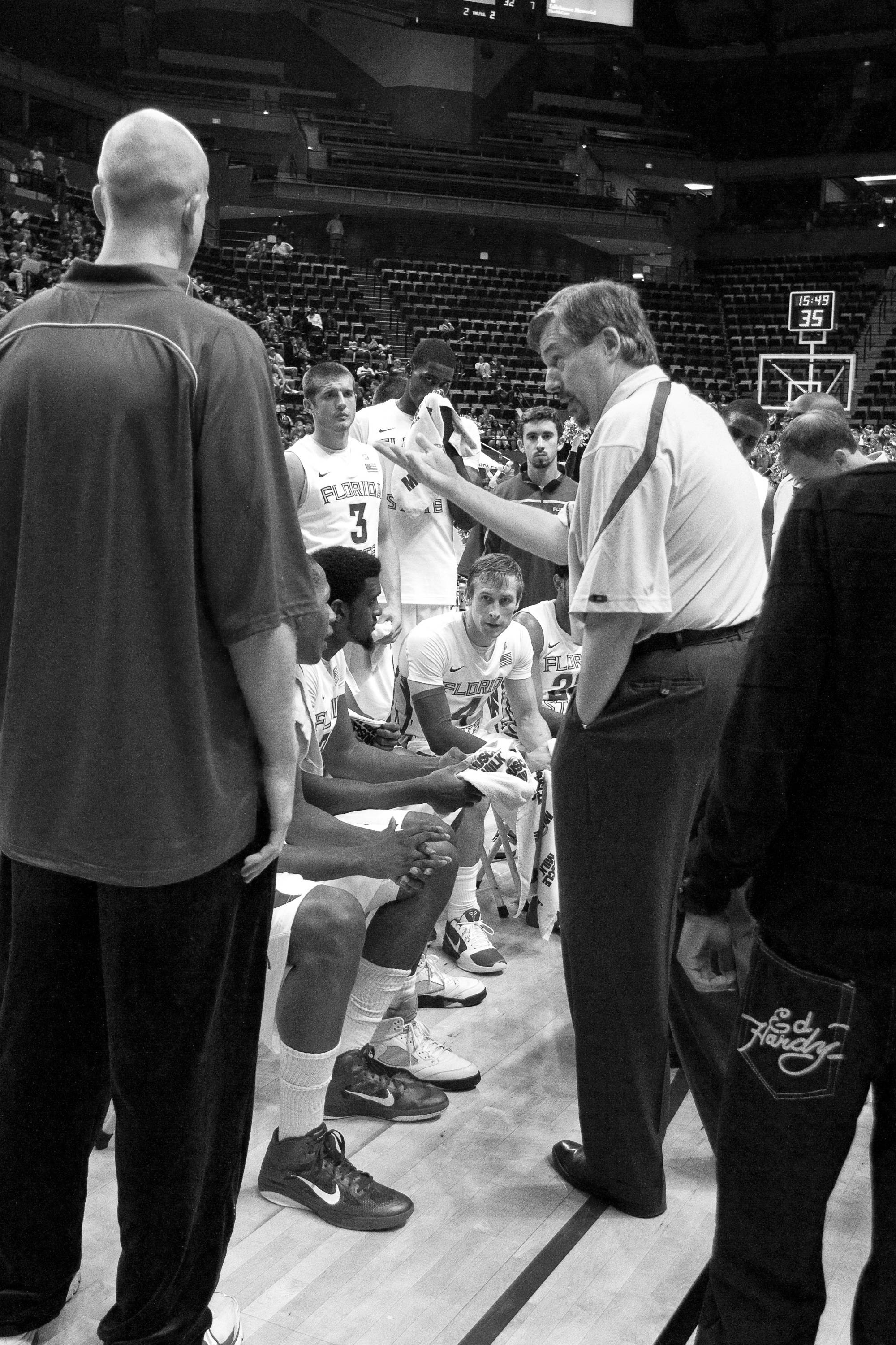 Team meets during a time out