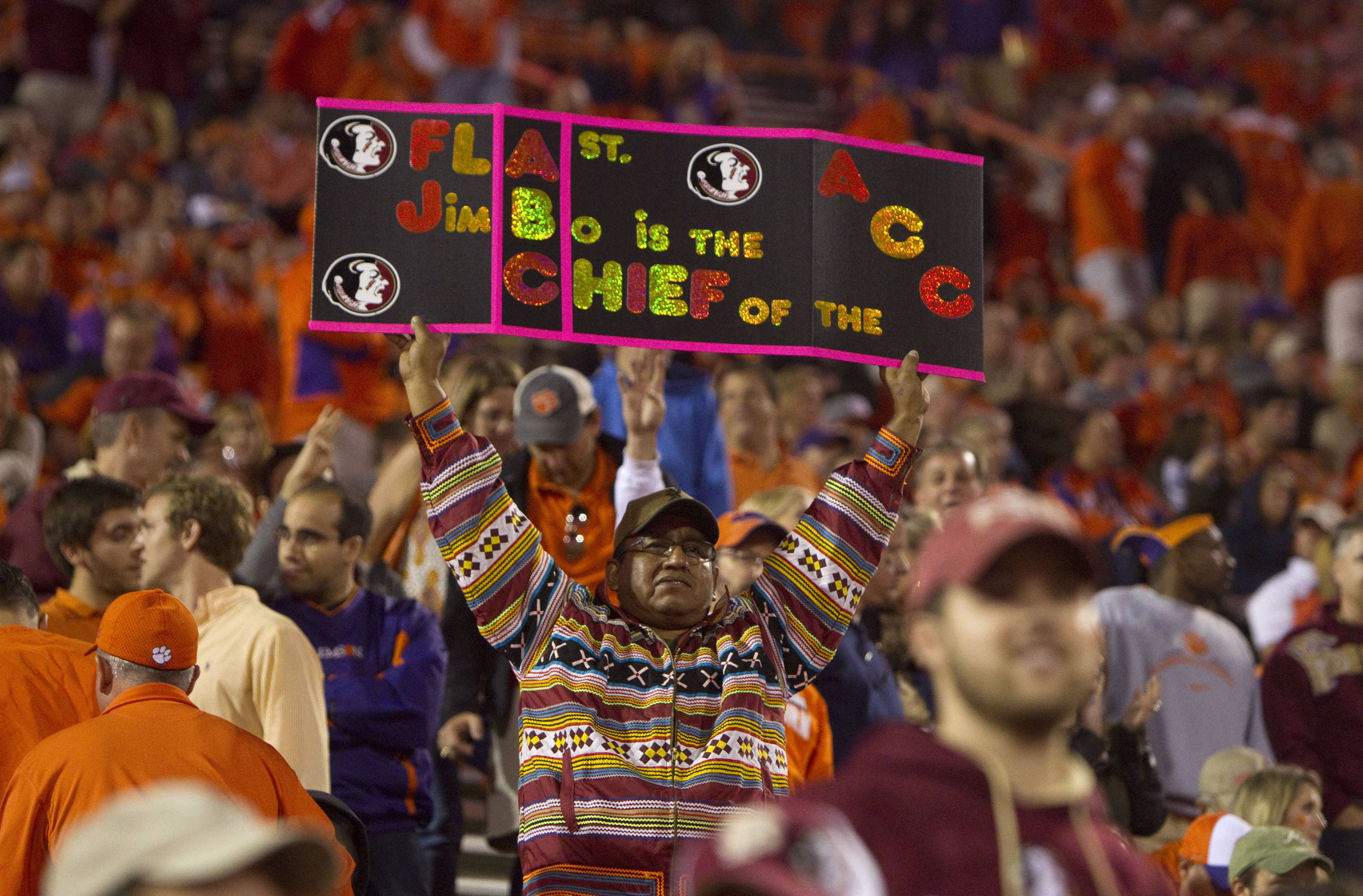 Florida State Seminoles fan reacts during the fourth quarter against the Clemson Tigers at Clemson Memorial Stadium. (Joshua S. Kelly-USA TODAY Sports)