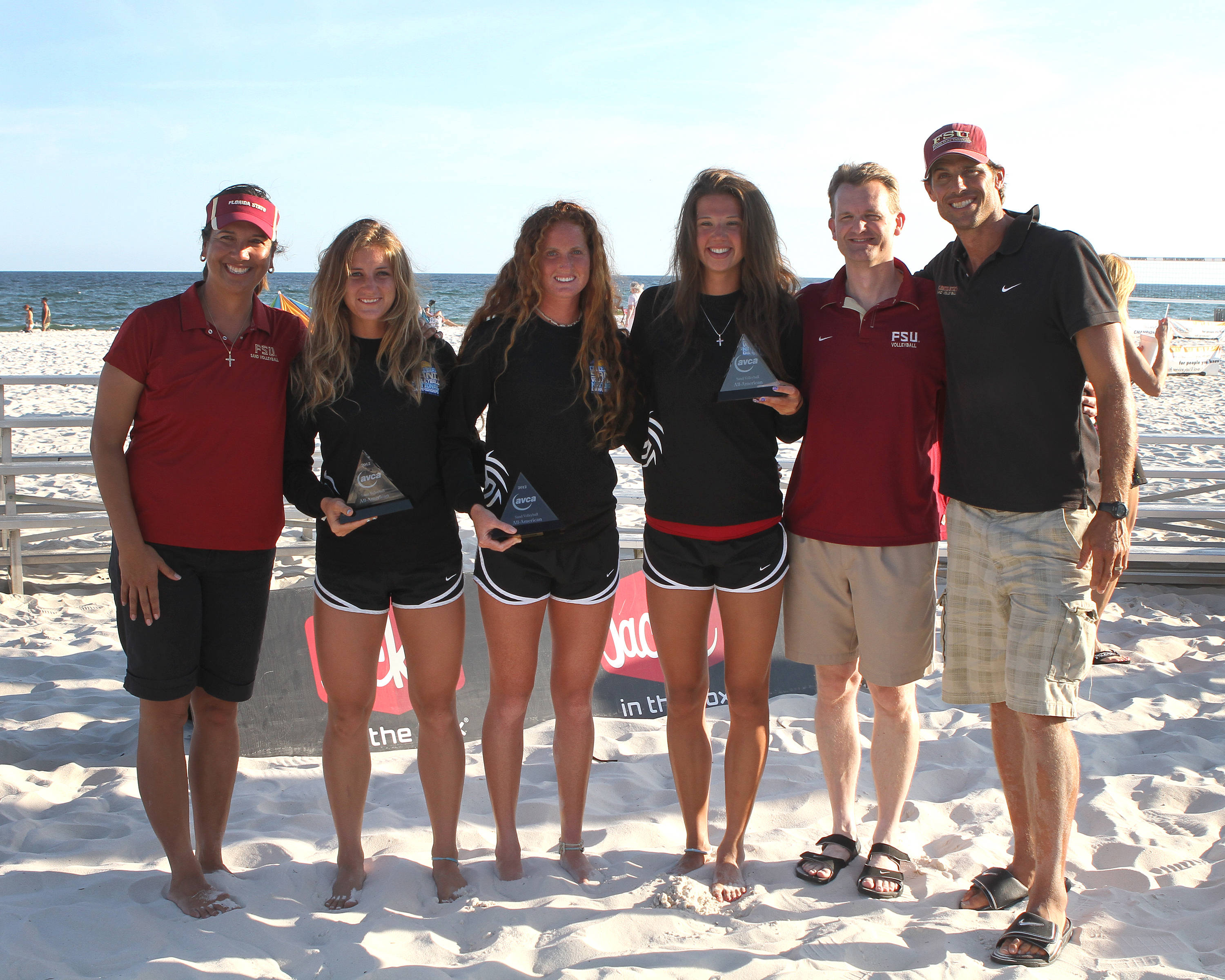 Head Coach Danalee Corso, All Americans Aurora Newgard, Brittan Tiegs, Jekaterina Stepanova, Director of Volleyball Chris Poole, Assistant Coach Brian Corso, SAND VOLLEYBALL COLLEGIATE CHAMPIONSHIPS,  04/28/2012