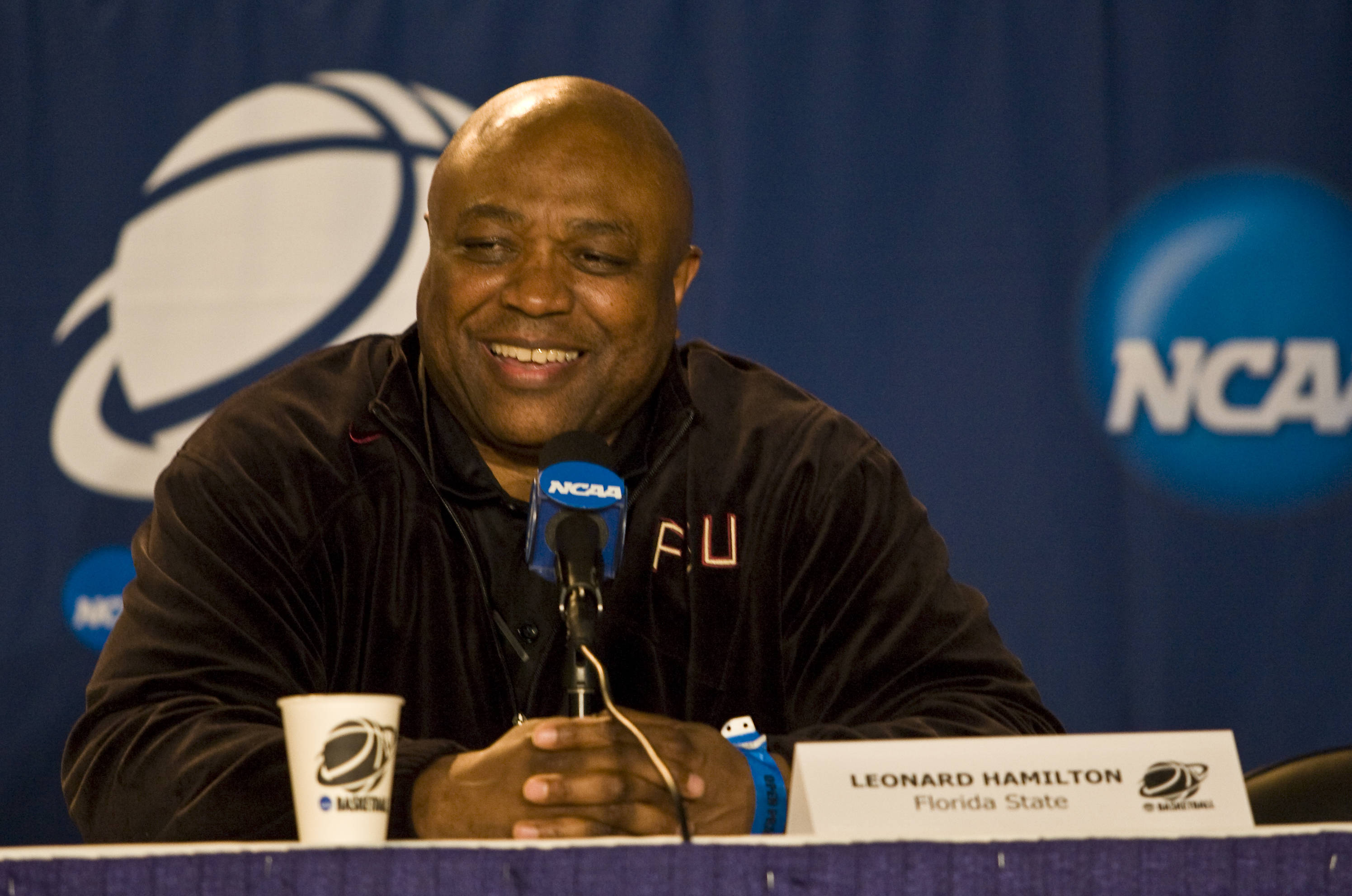 Head Coach Leonard Hamilton shares a laugh with the media at the NCAA pre-tournament press conference.