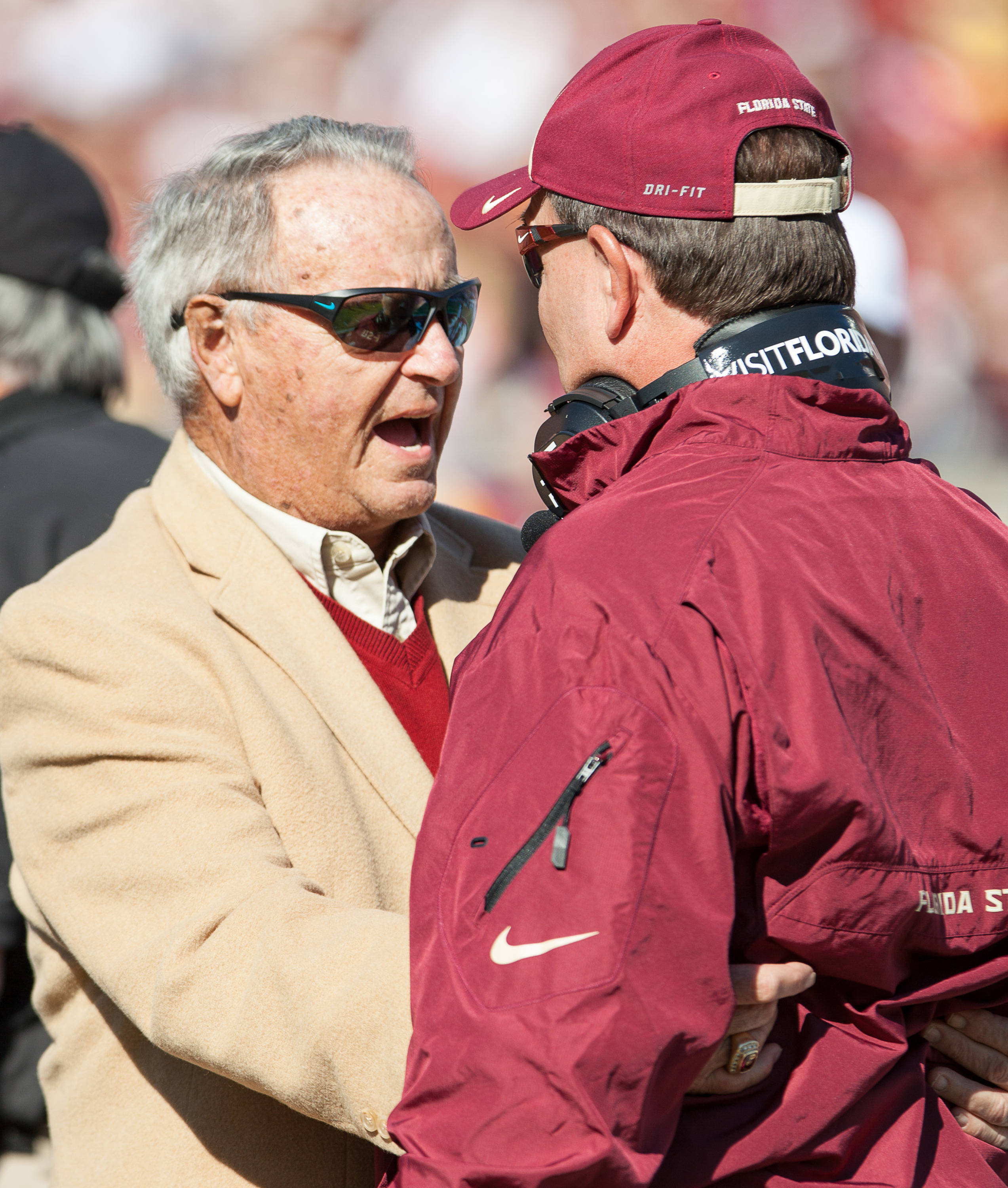 Bobby Bowden takes the field before FSU Football's 49-17 win over NC State on Saturday, October 26, 2013 in Tallahassee, Fla. Photo by Michael Schwarz.