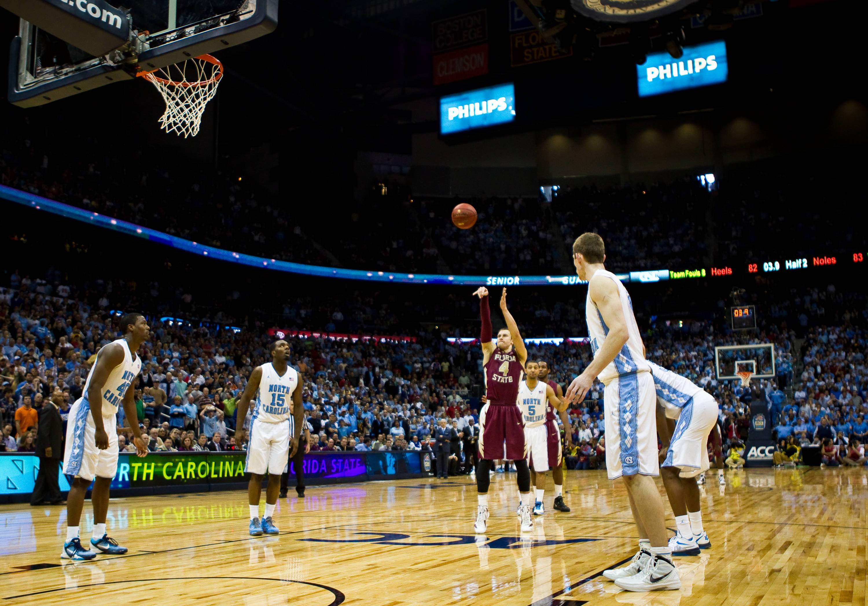 Deividas Dulkys (4) with clutch free throws at the end of the North Carolina game