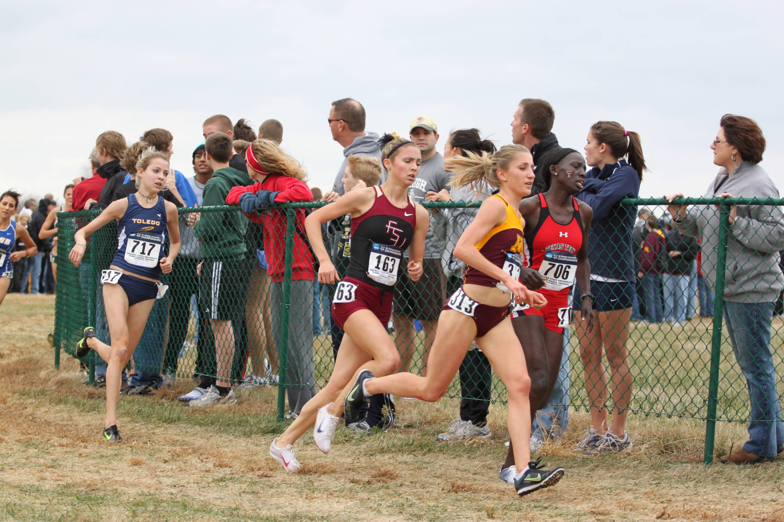 Jessica Parry, who earned All-American honors for the FSU women, prepares to pass another runner.