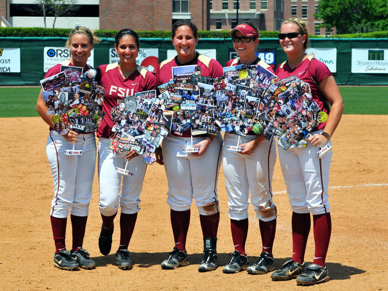 The Florida State seniors: Courtney Rosen, Monica Montez, Tory Haddad, Carly Wynn and Terese Gober.