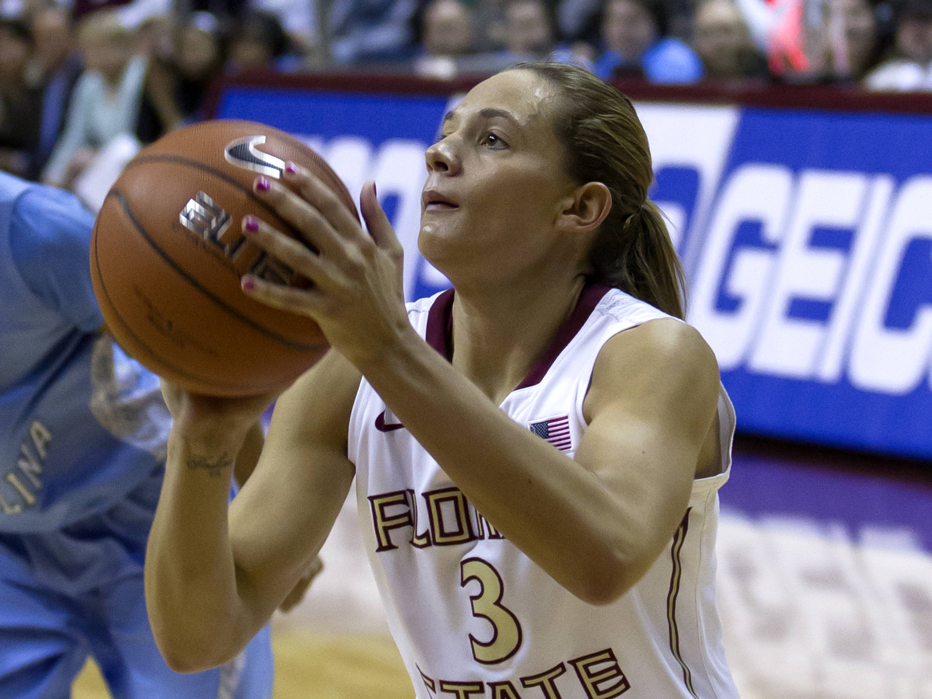 Alexa Deluzio (3), FSU vs NC, 02/17/13. (Photo by Steve Musco)