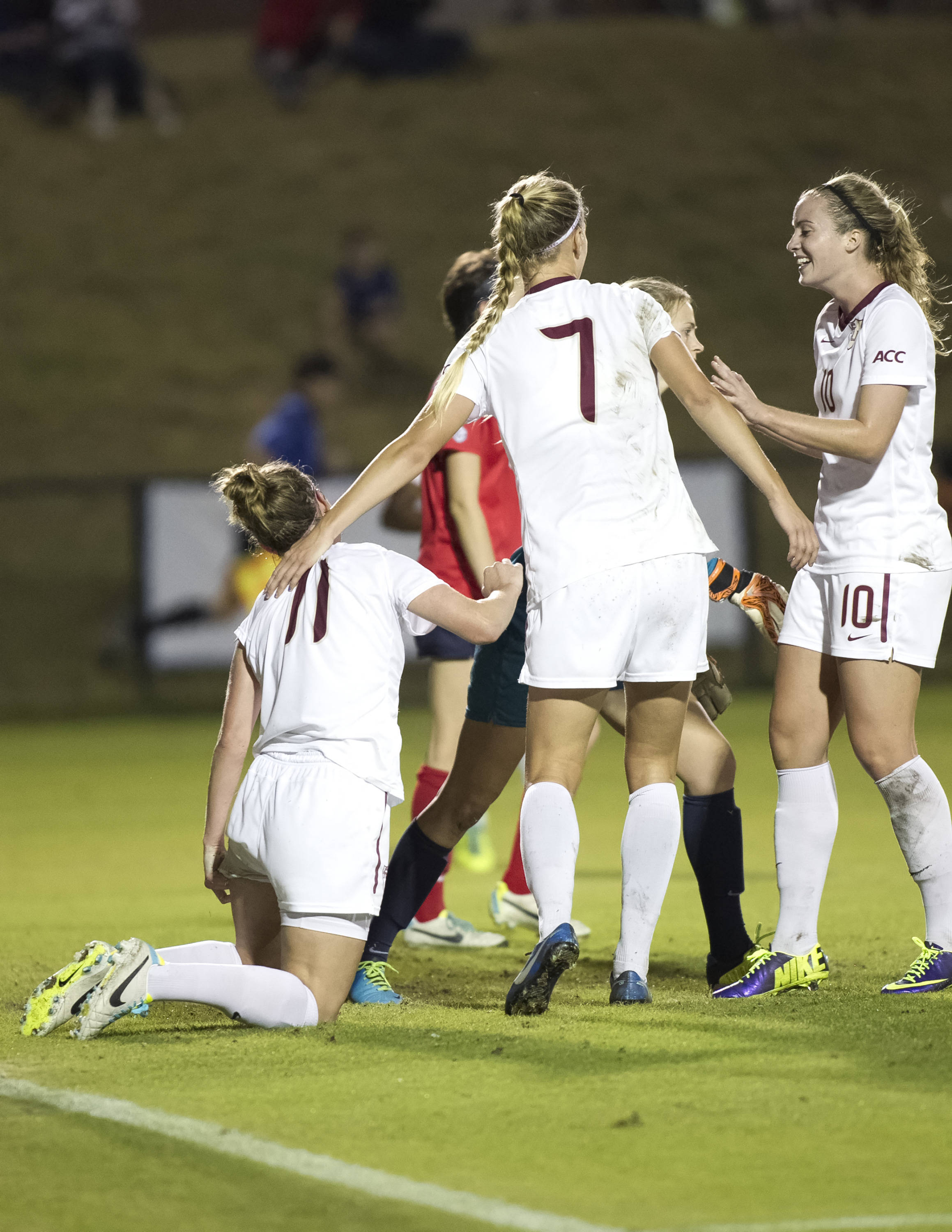 Celebrating Isabella Schmid's (11) goal. FSU vs Ole Miss, 11-17-13, 2nd round NCAA Tournament (Photo by Steve Musco)