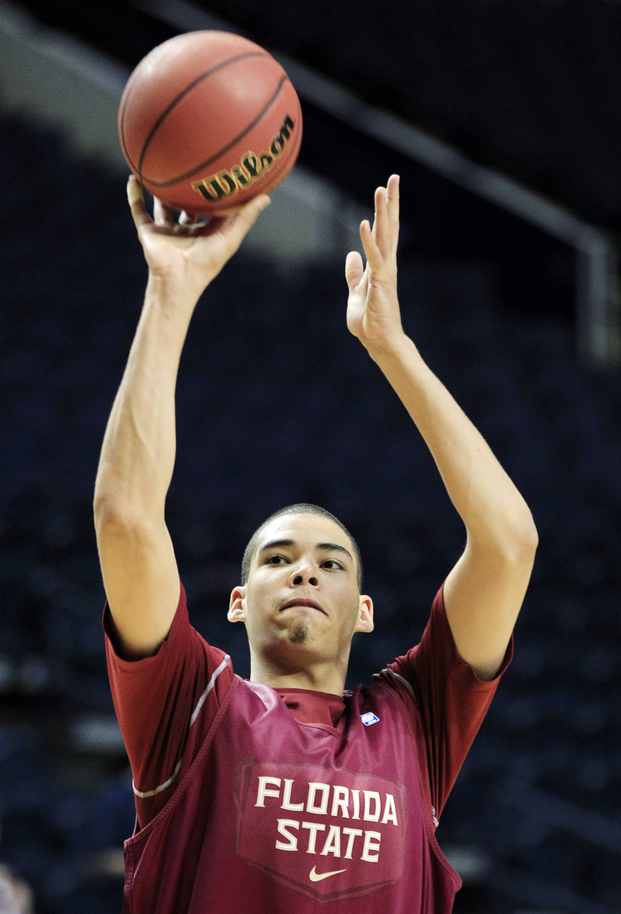 Florida State center Kiel Turpin shoots during practice for an NCAA college basketball tournament game on Thursday, March 15, 2012, in Nashville, Tenn. Florida State is scheduled to play St. Bonaventure on Friday. (AP Photo/Mark Humphrey)