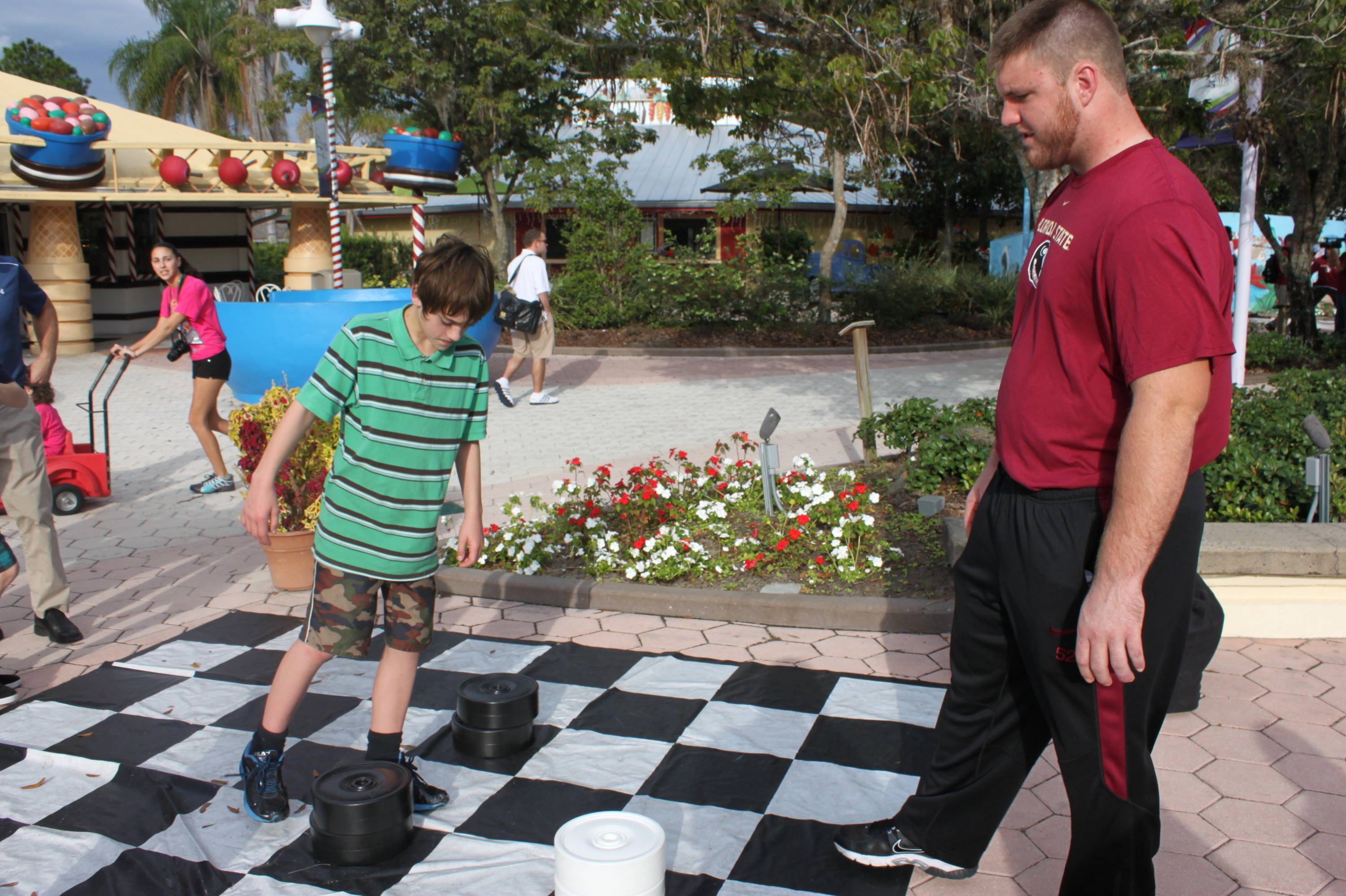 Bryan Stork provided a little advice in an over-sized game of checkers.