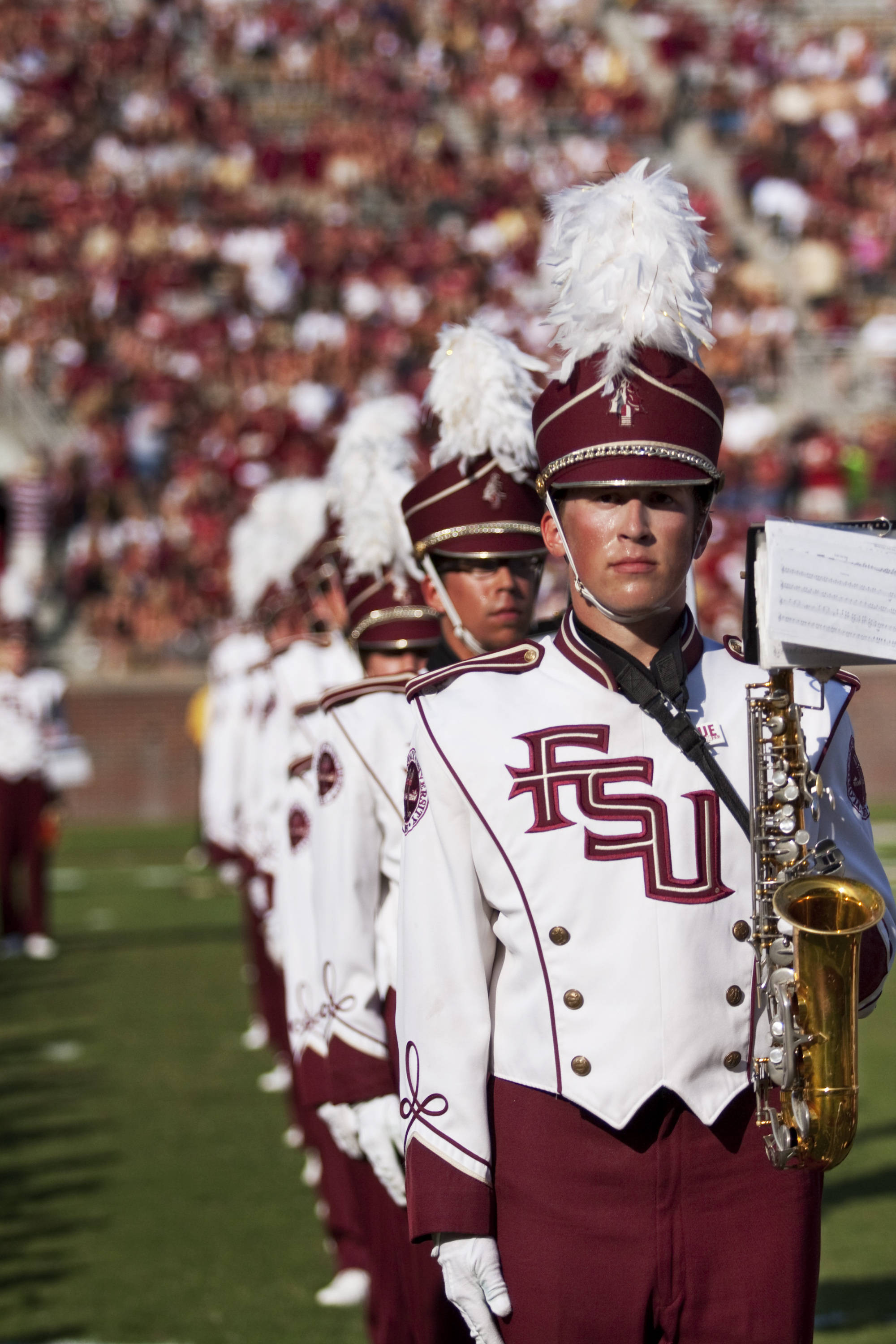FSU Marching Chiefs perform during half time in the game against BYU.