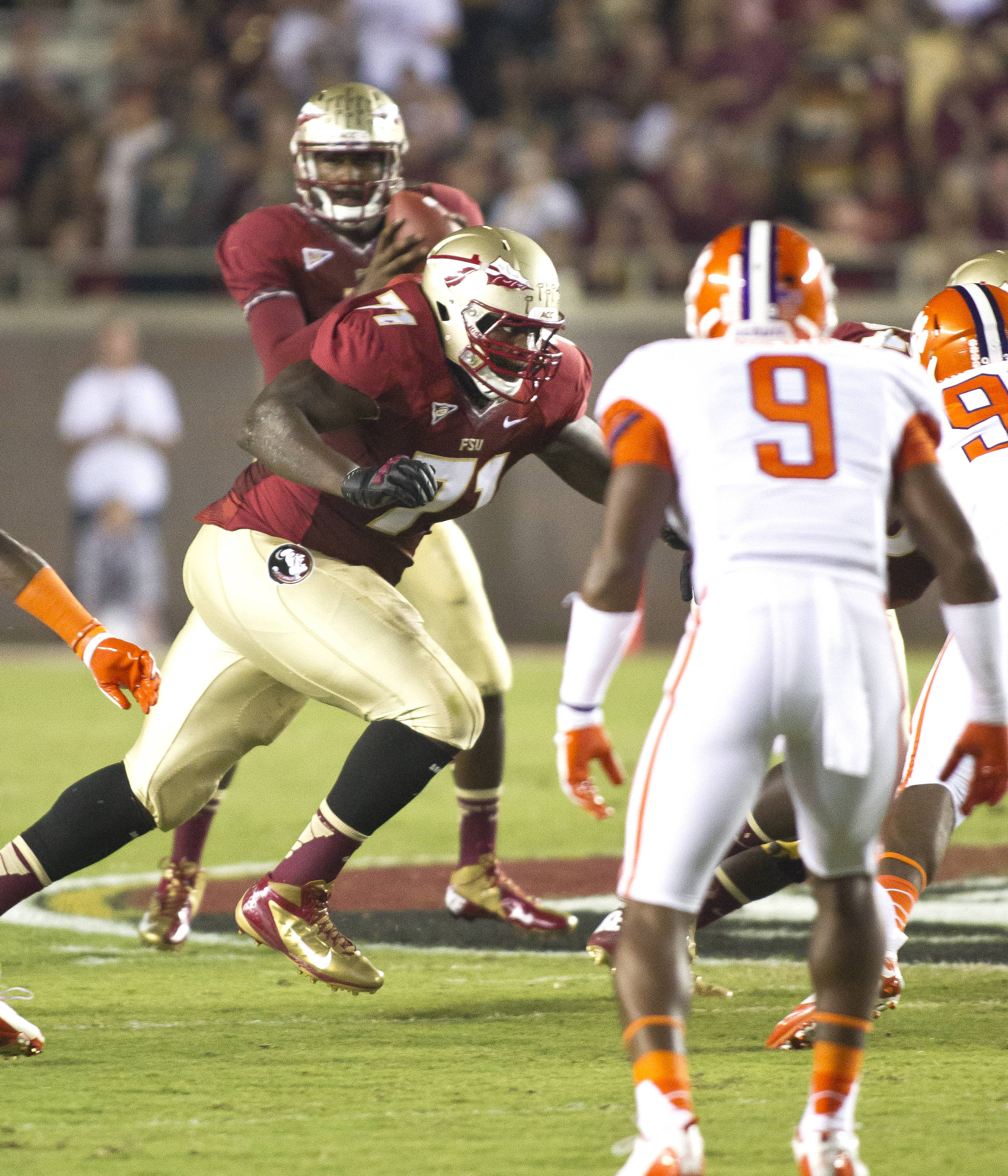 Menelik Watson (71) blockingFSU vs Clemson, 9/22/12 (Photo by Steve Musco)