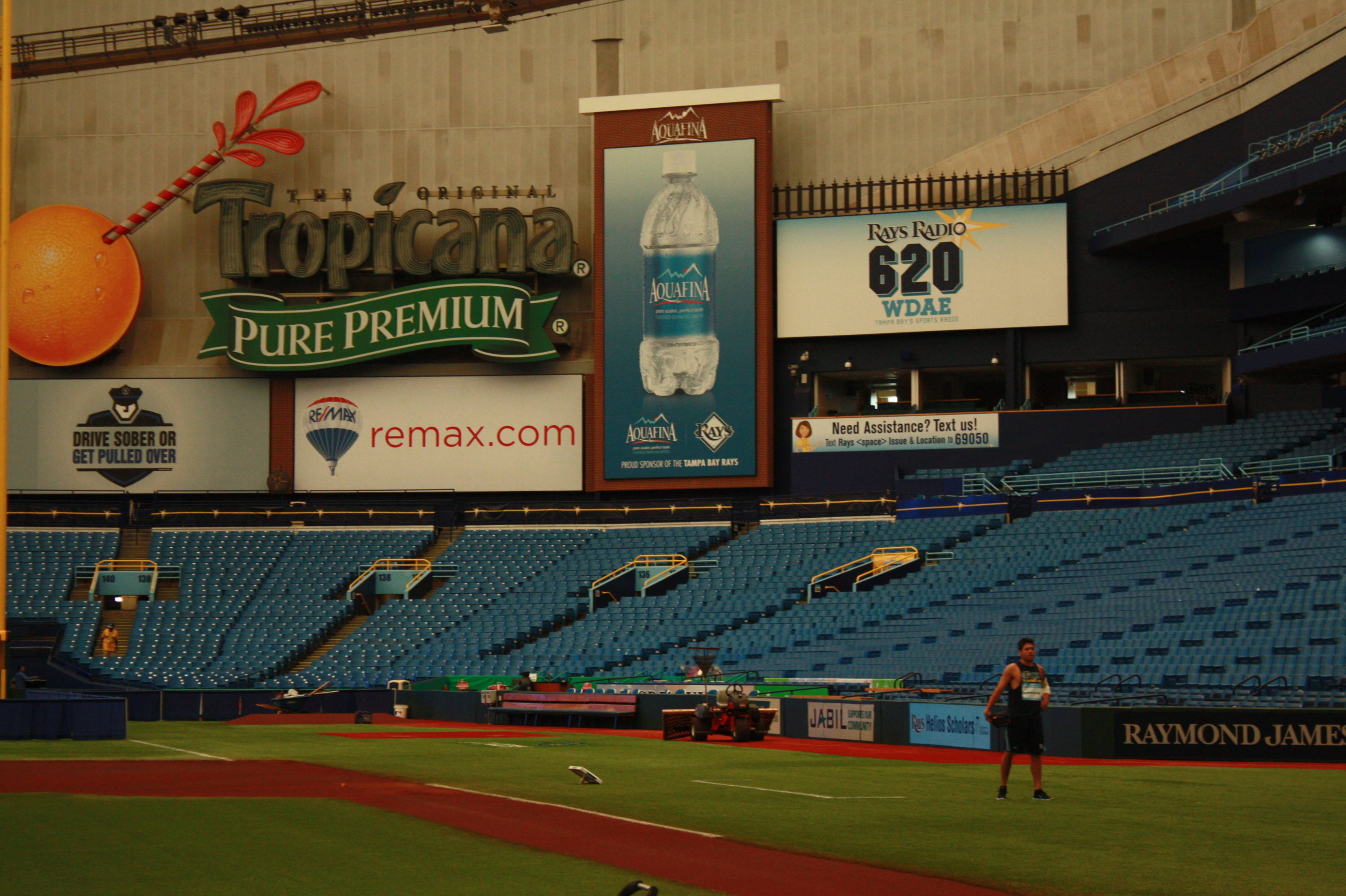 Inside the Trop on Sunday morning on FSU Day at the Rays and look Matt Moore getting some work in.
