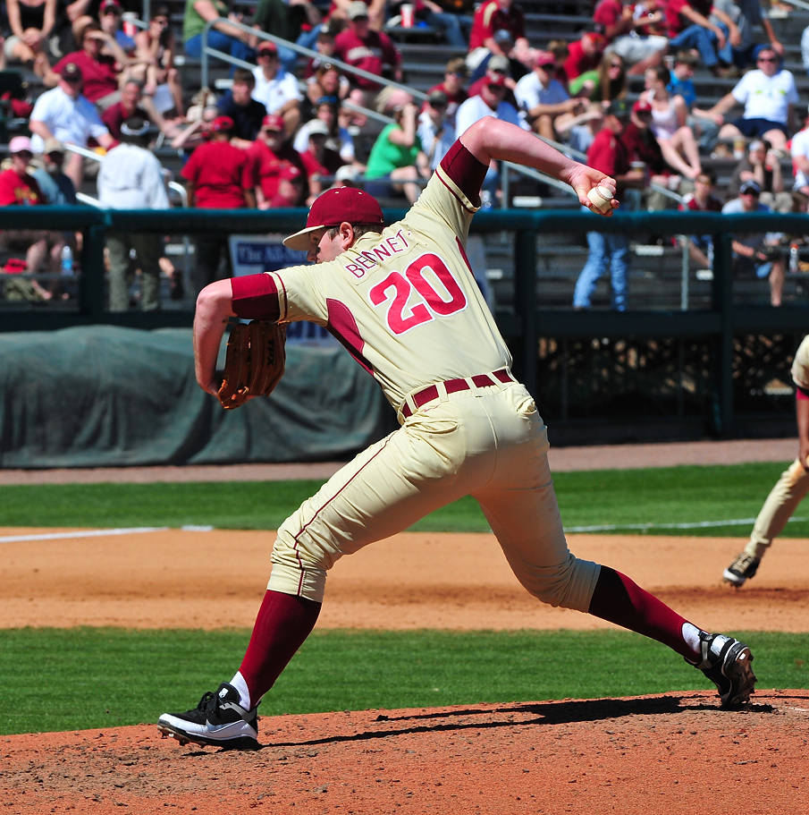 ... which reliever Daniel Bennett followed to a tee, getting a strikeout and a fly ball to escape a jam against BC.