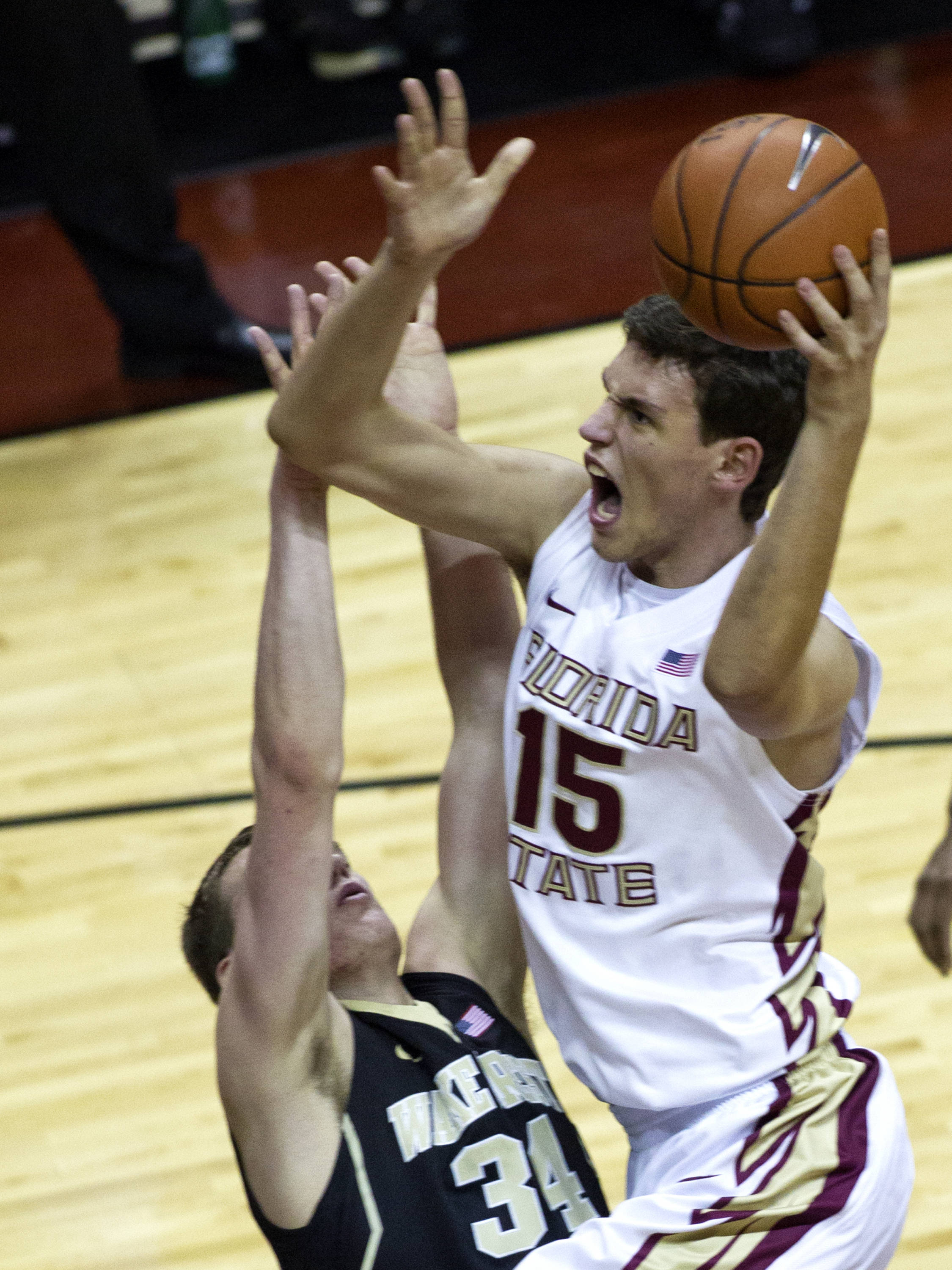 Boris Bojanovsky (15), FSU vs Wake Forest, 02/26/13. (Photo by Steve Musco)