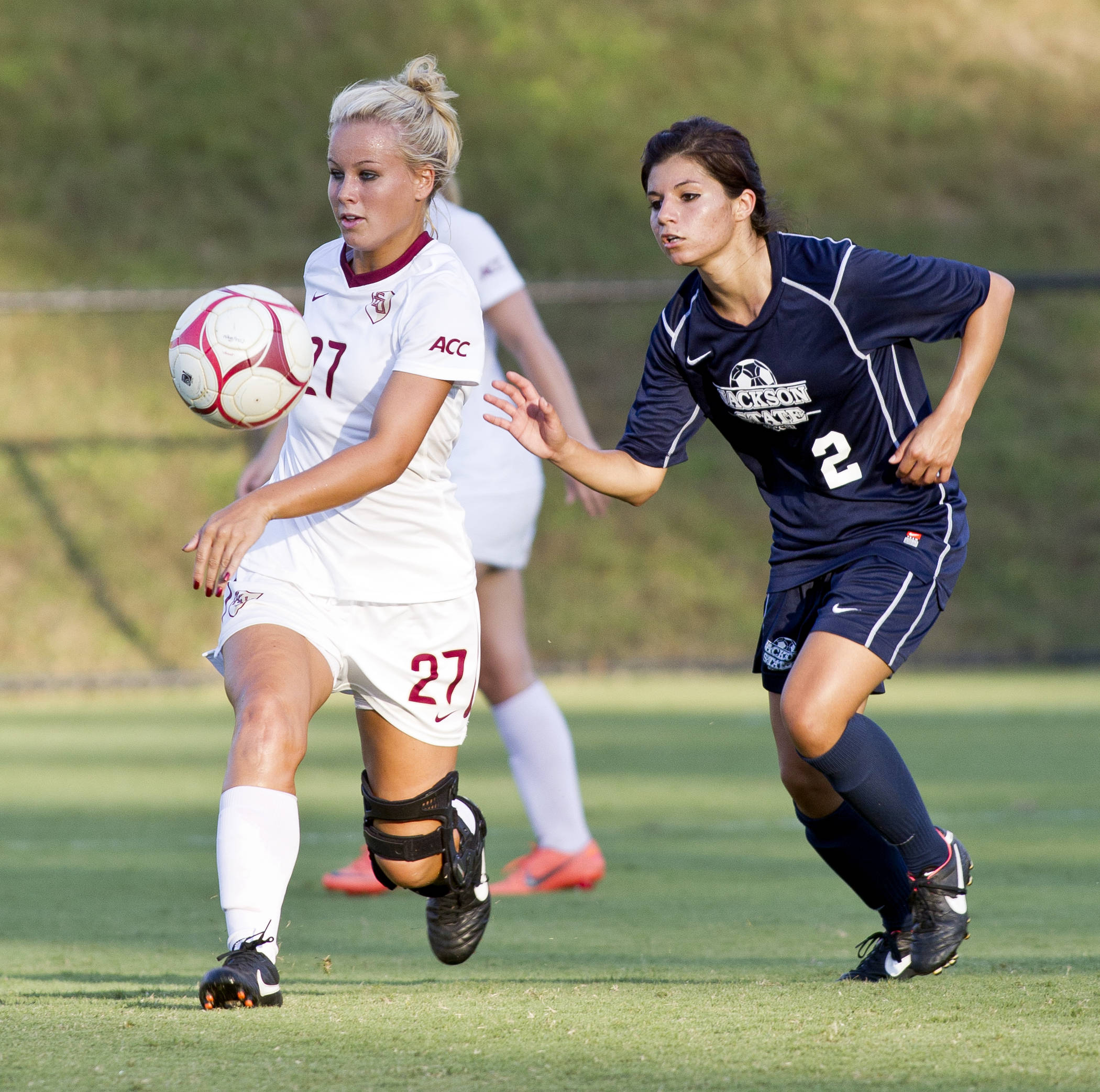 Rylee Hart (27), FSU vs Jackson State, 9/21/12 (Photo by Steve Musco)