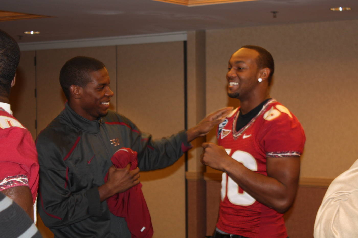 Rod Owens and Dekoda Watson sharing a laugh at the Gator Bowl coaches and players press conference at the Hyatt in Jacksonville.
