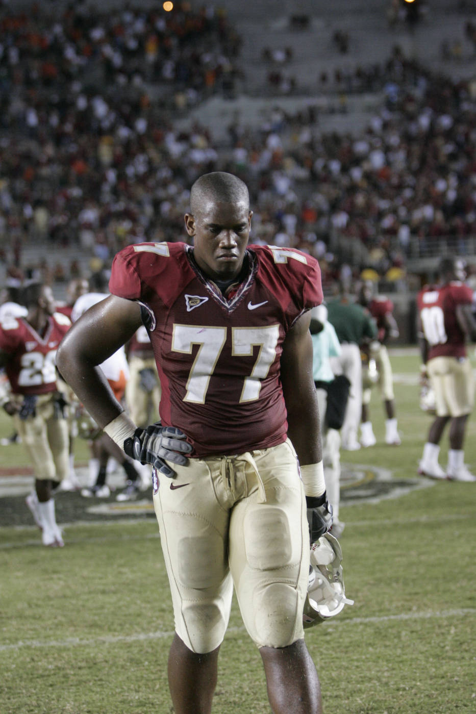 Florida State's Zebrie Sanders walks off the field following Miami's 38-34 victory in an NCAA college football game, Monday, Sept. 7, 2009, in Tallahassee, Fla. (AP Photo/Steve Cannon)